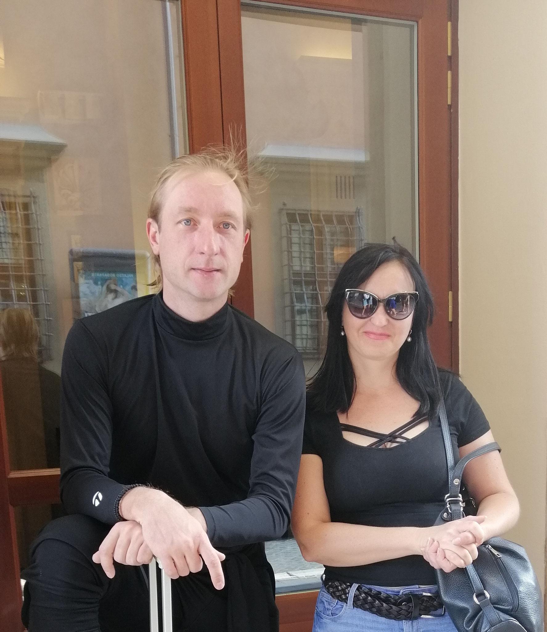 С фигуристом Евгением Плющенко