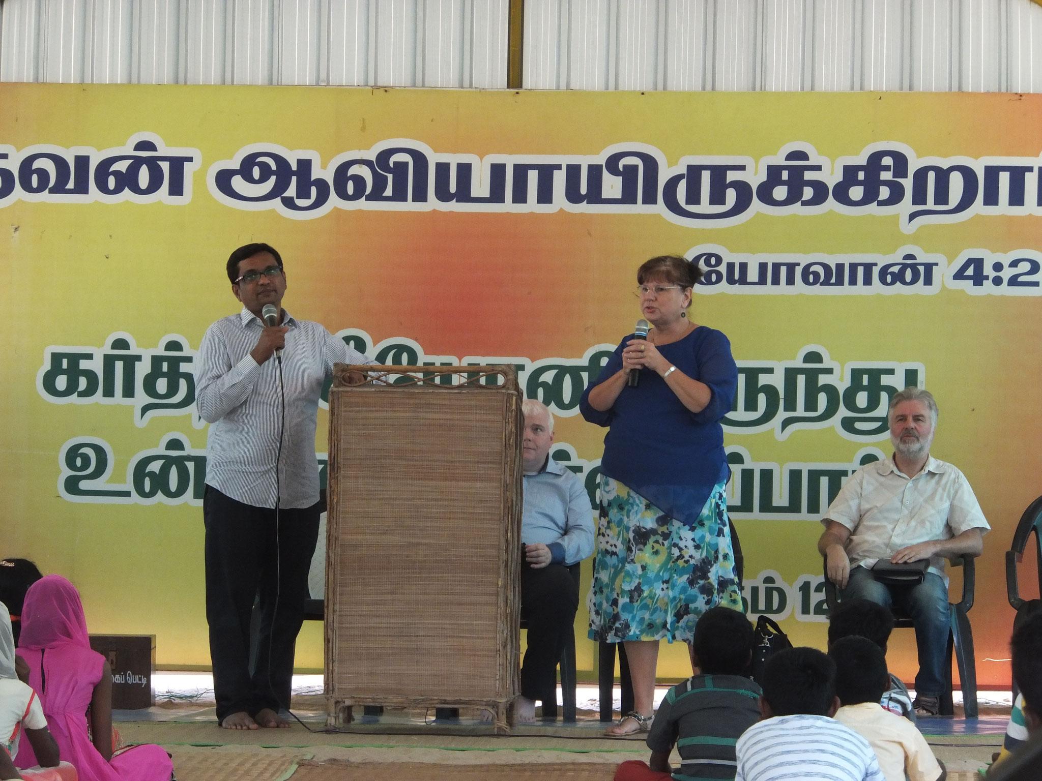 Karin predigt in Rameswaram