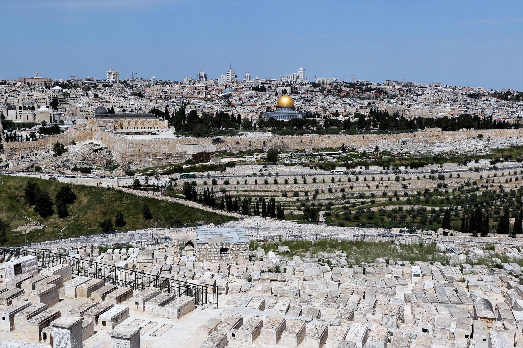 Blick vom Ölberg auf die Altstadt Jerusalems mit Tempelberg