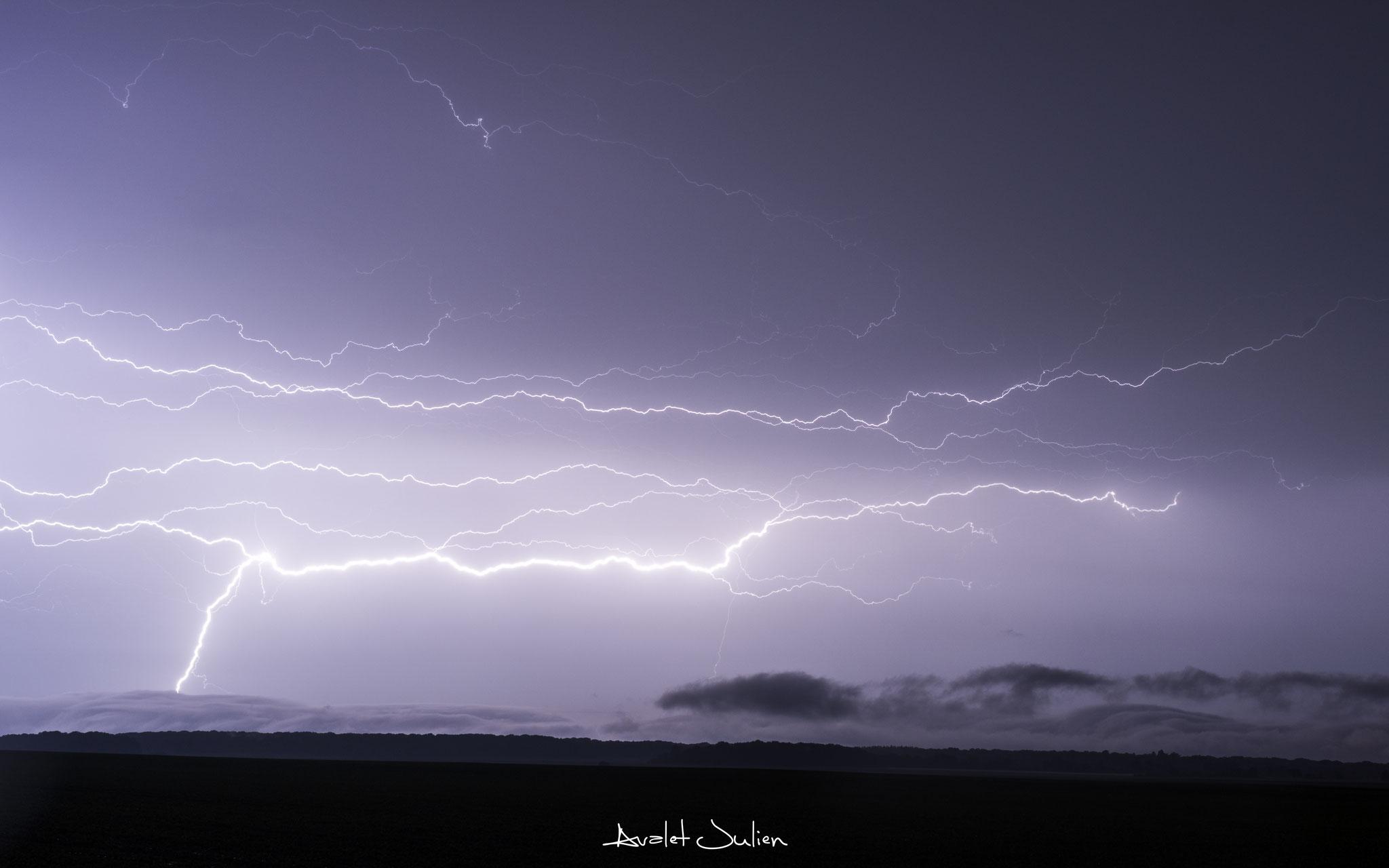 Nuit très électrique sur l'Oise le 28 mai 2018