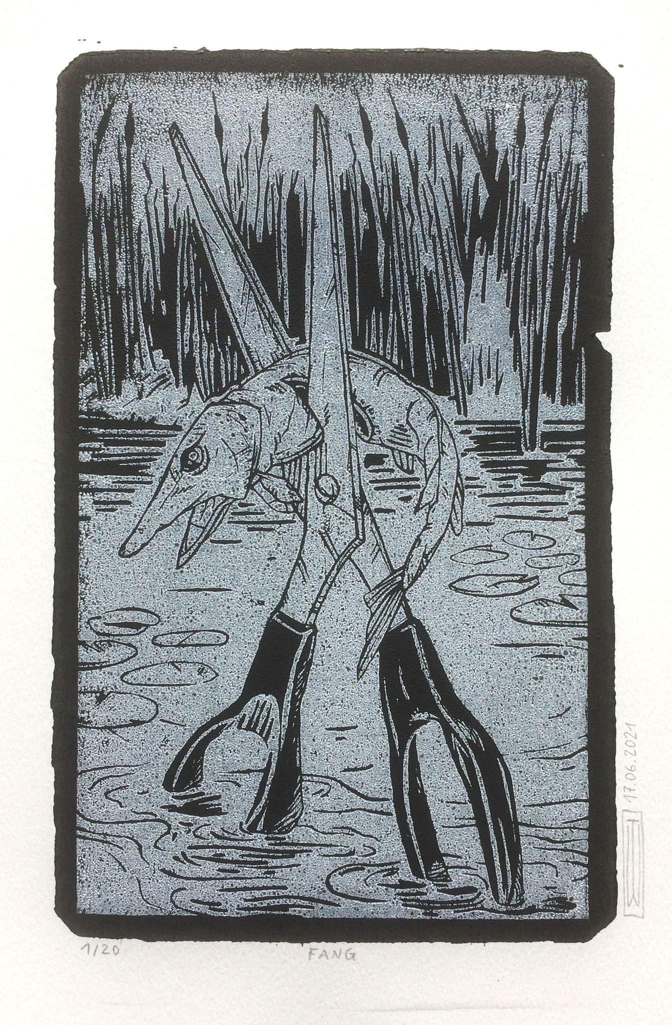 Fang, Linoldruck, 21 x 13 cm