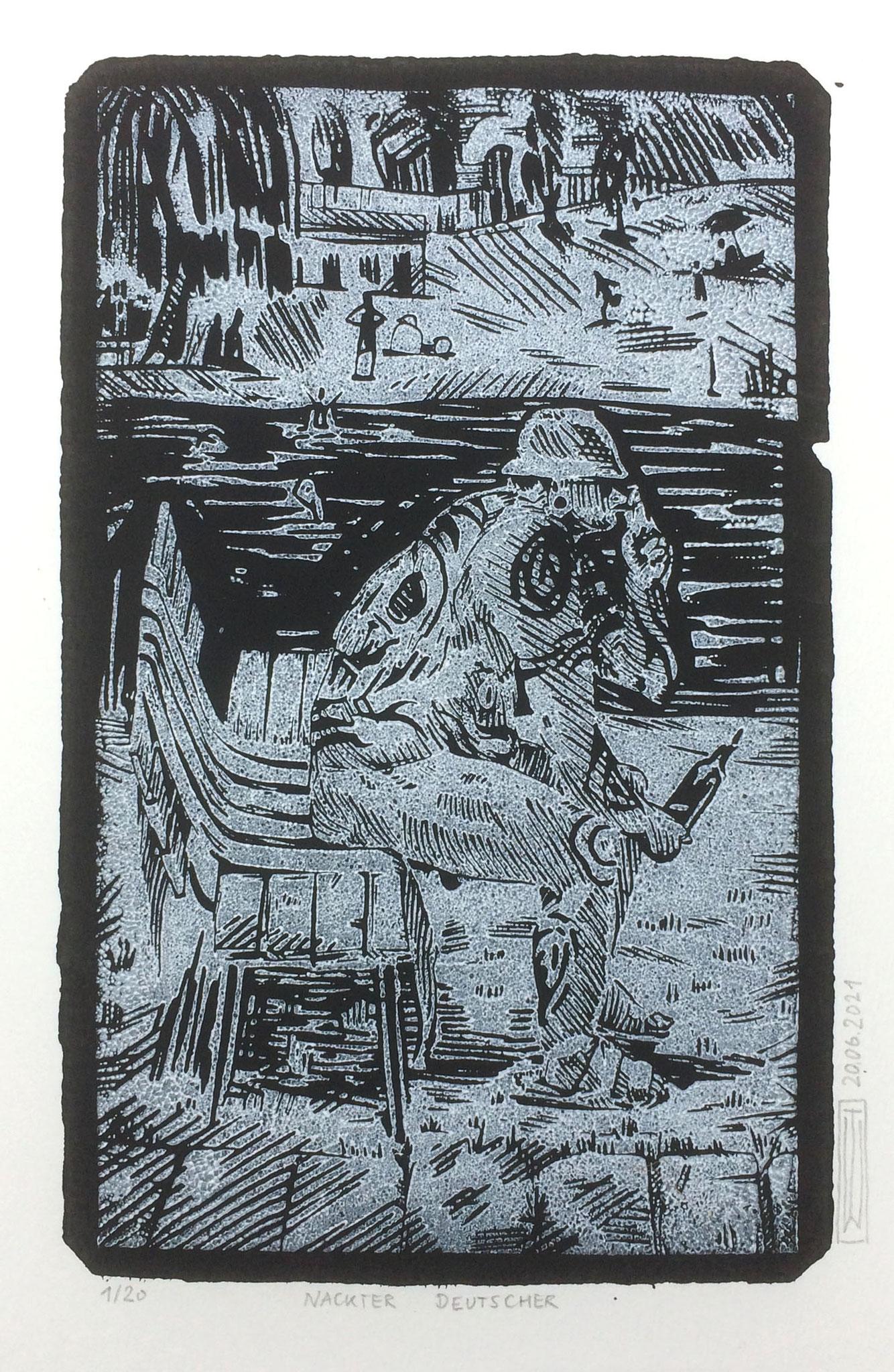 nackter Deutscher, Linoldruck, 21 x 13 cm