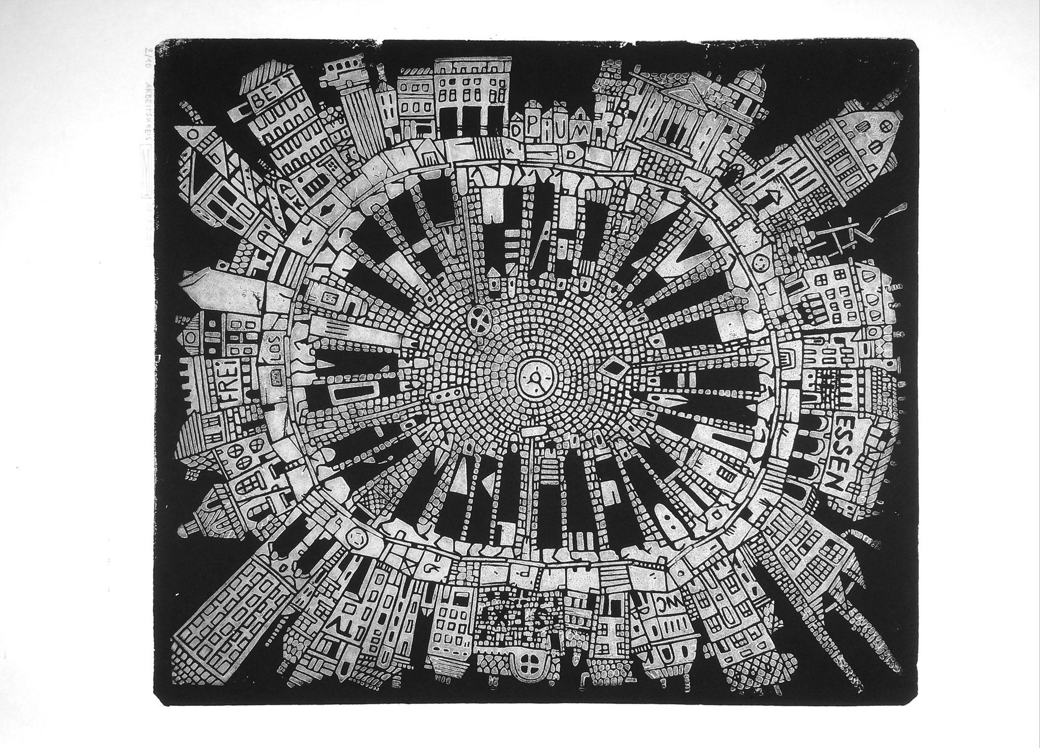 Arbeitskreis, Linoldruck, 35 x 30,5 cm