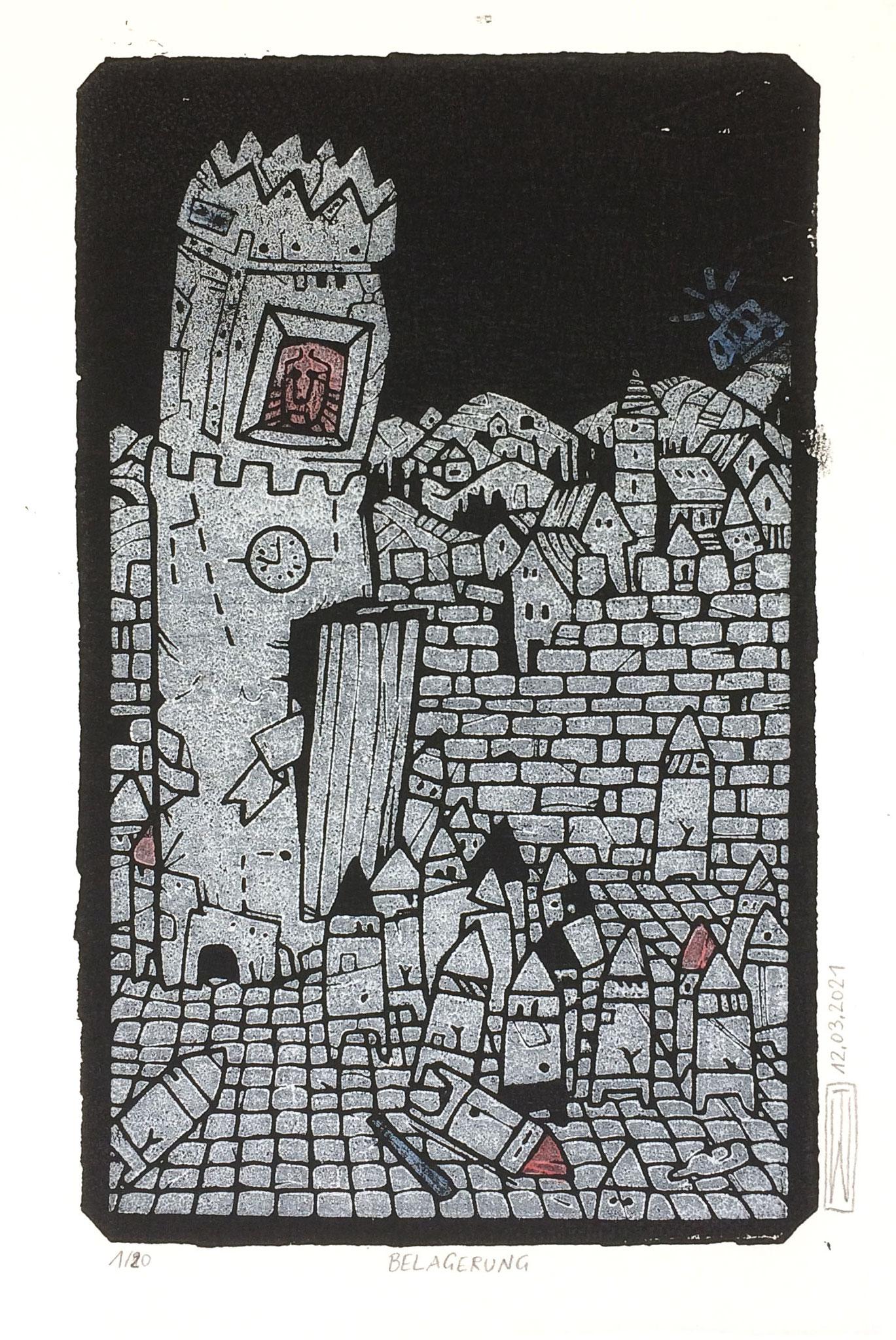Belagerung, Linoldruck, 13 x 21 cm
