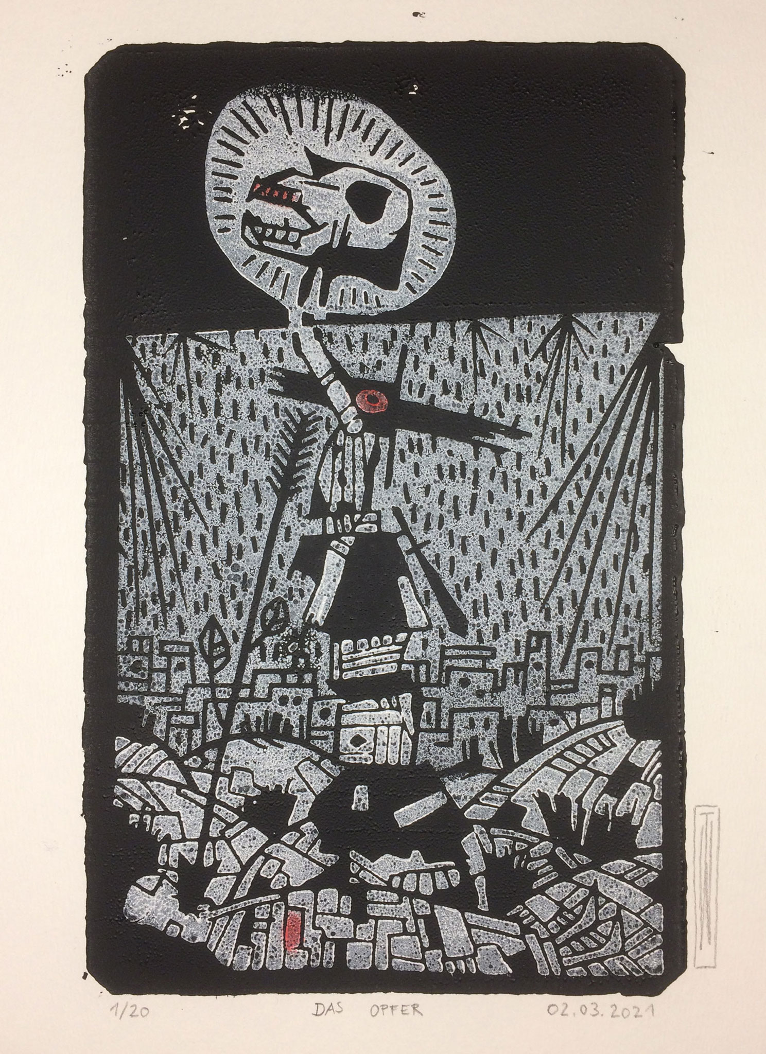Opfer, Linoldruck, 13 x 21 cm