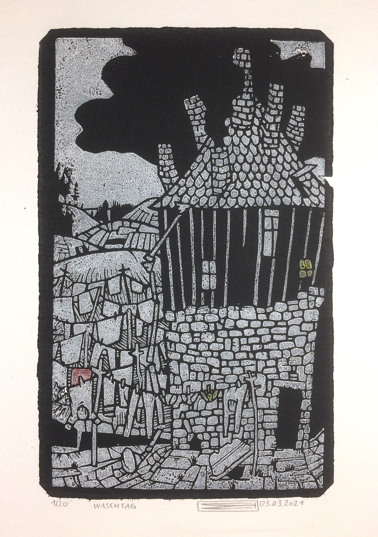 Waschtag, Linoldruck, 13 x 21 cm
