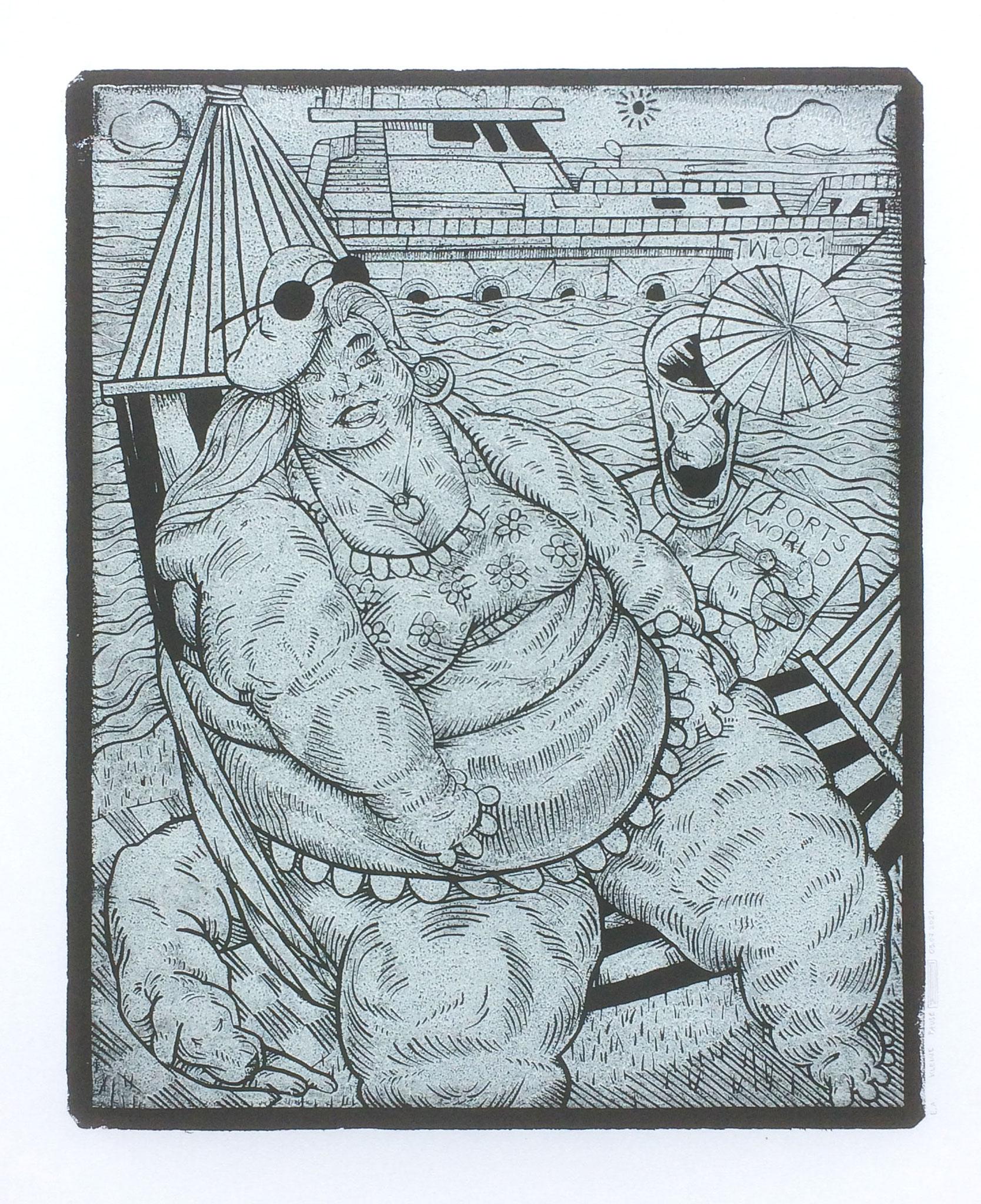 Kleine Pause, Linoldruck, 38 x 47 cm