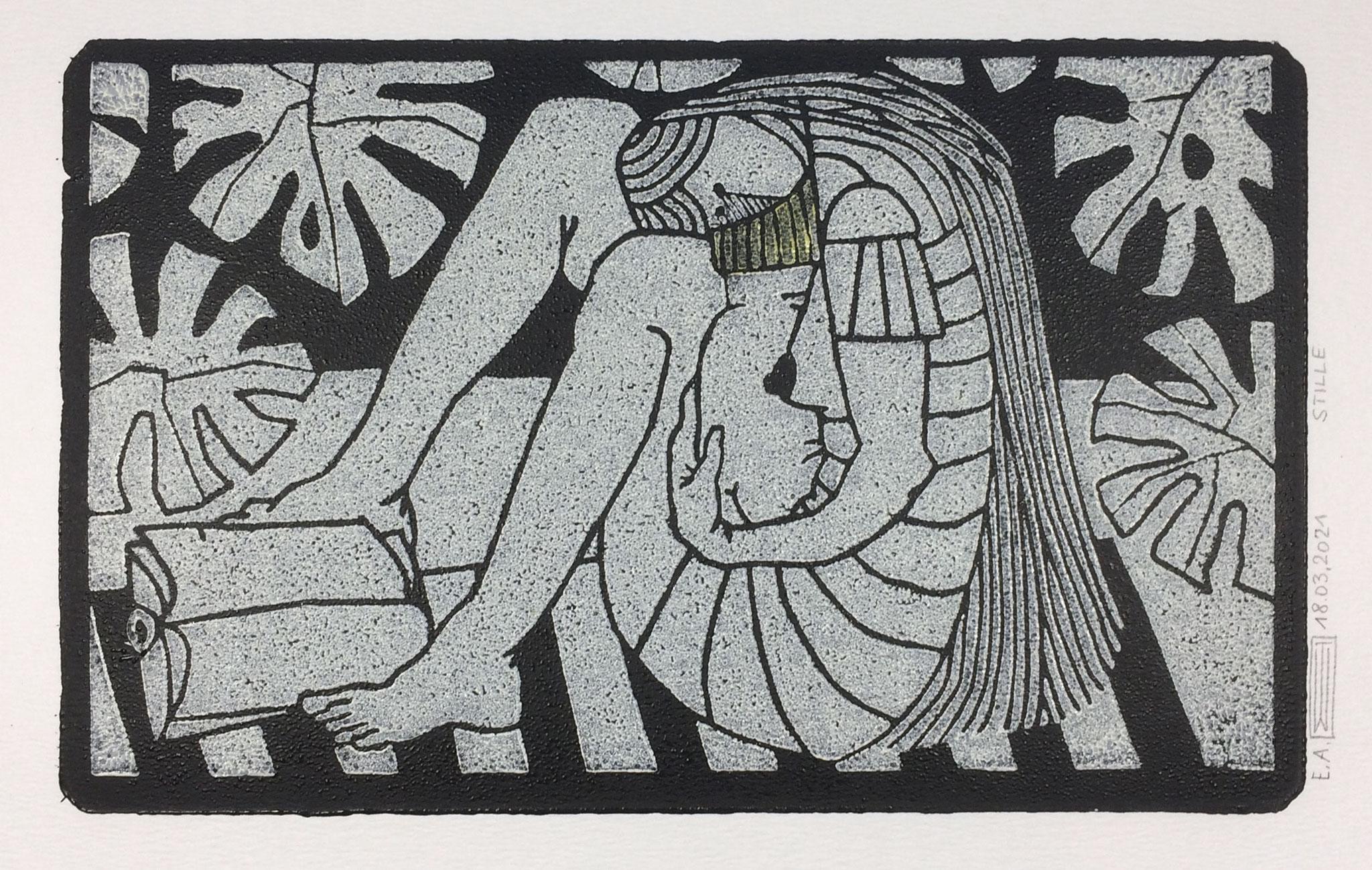 Stille, Linoldruck, 21 x 13 cm