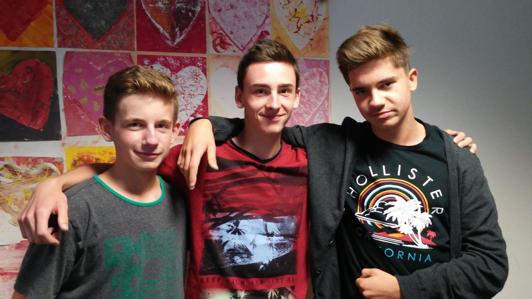 Sieger im 400m-Lauf Jungen: Leon Tappert, Andreas Daniel, Stipica Stjepanovic