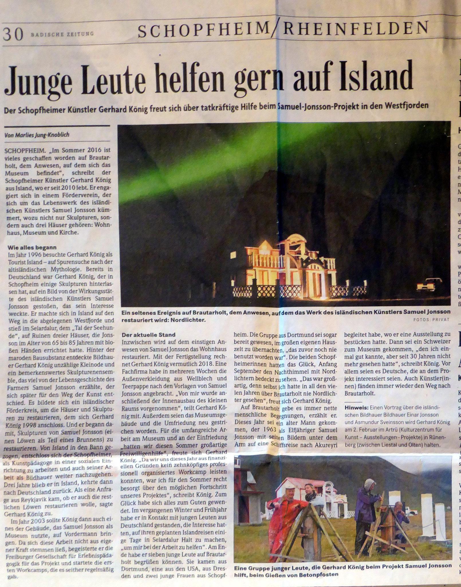 Badische Zeitung 11.1. 2017  by Marlies Jung-Knoblich
