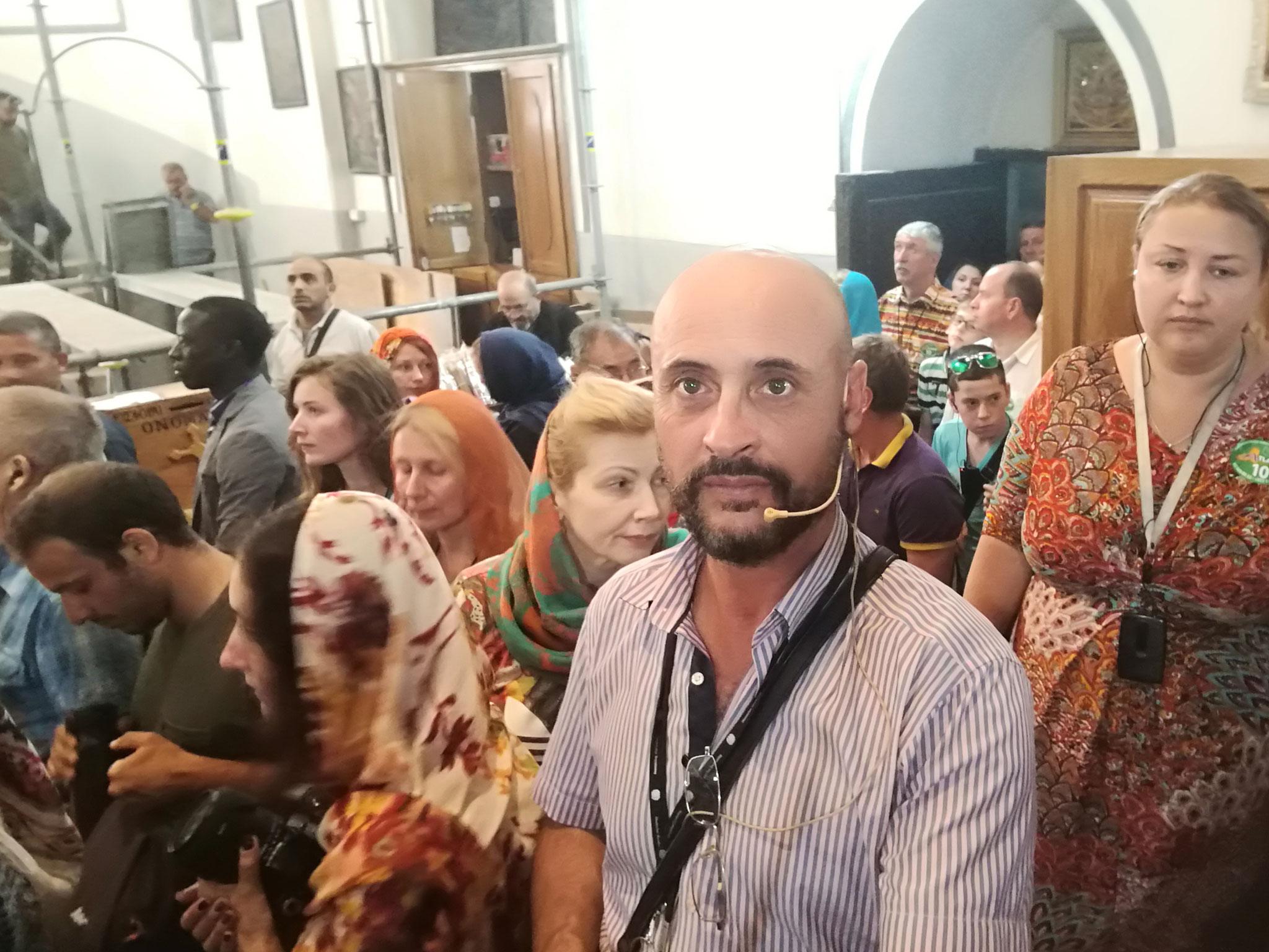 Crowds of pilgrims at the Nativity Church, Bethlehem
