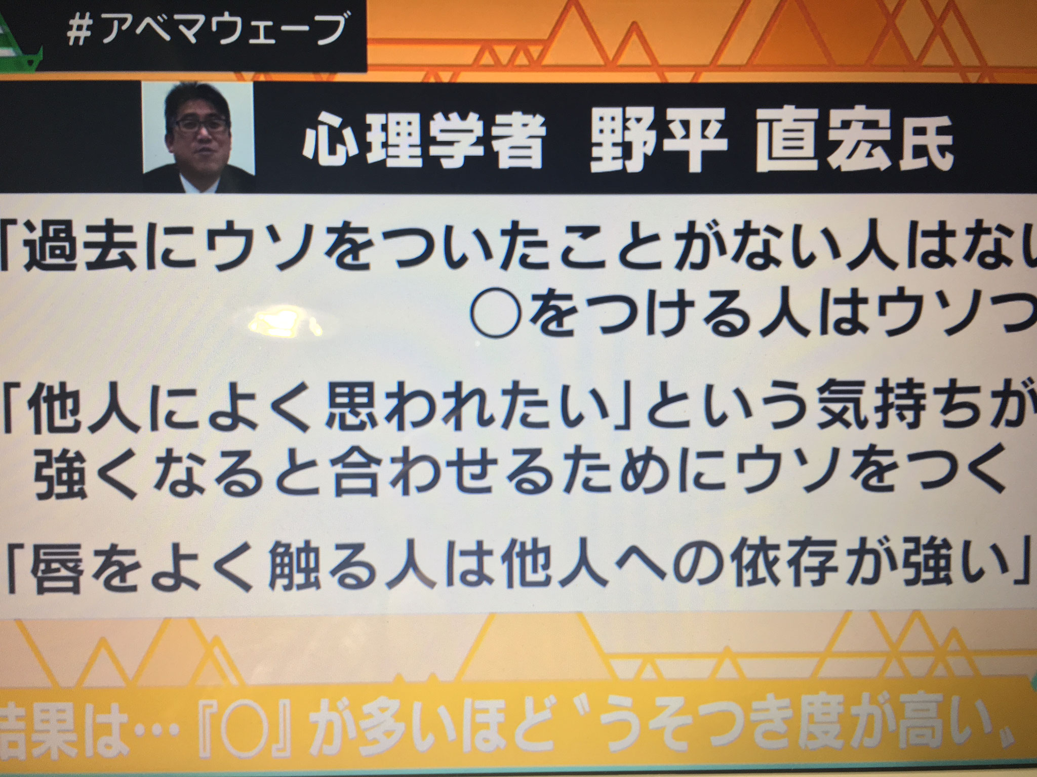 テレビ朝日  心理テスト制作 心理監修