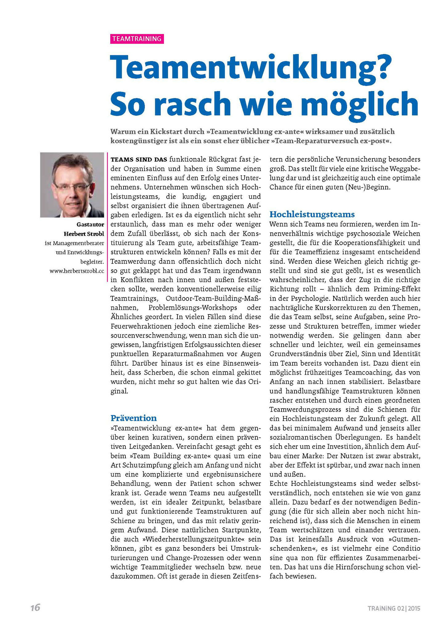 Artikel in TRAiNiNG 02/2015_Seite 1