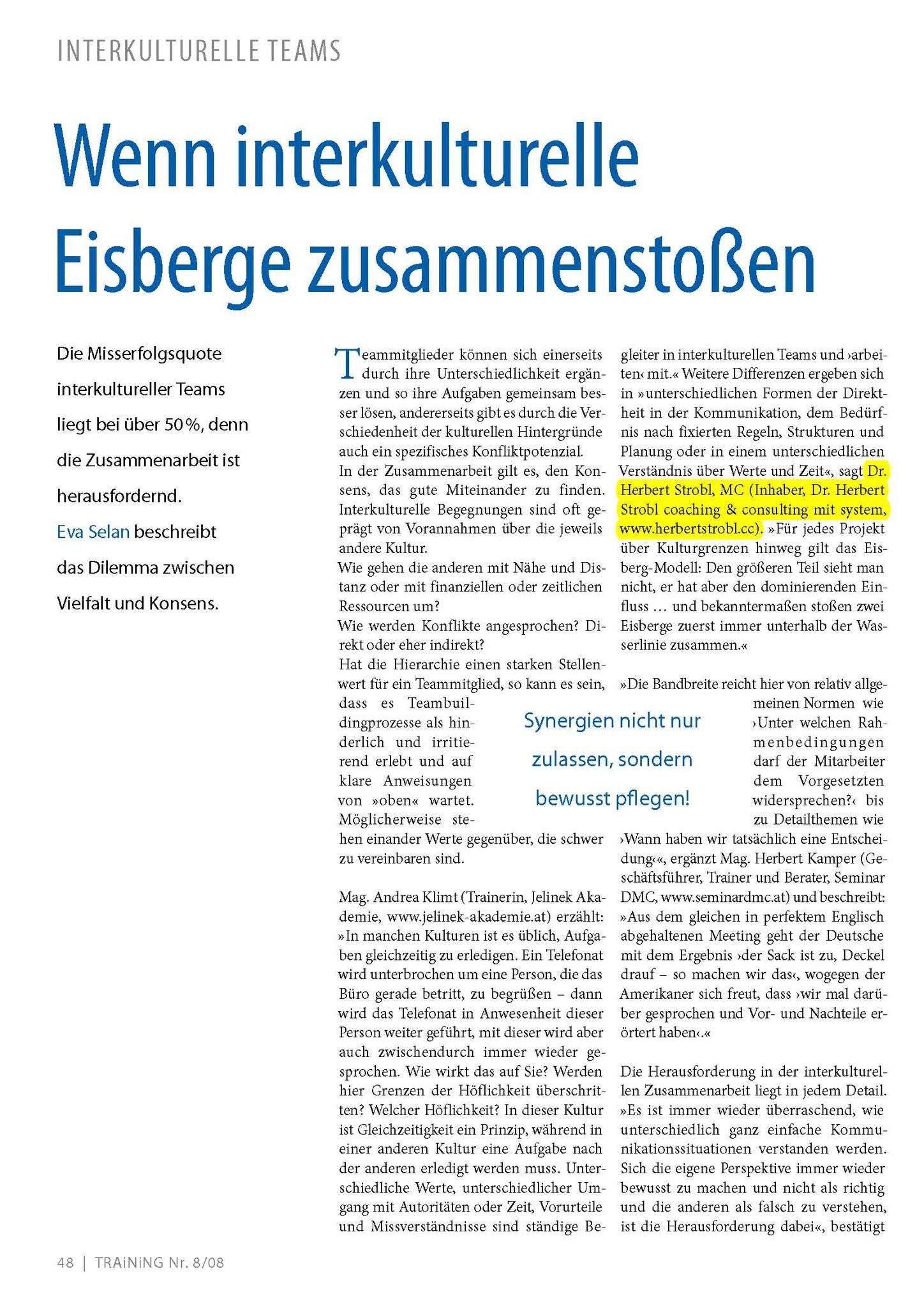 Interkulturelle Teamarbeit_TRAiNiNG Dez. 2008_Seite_1