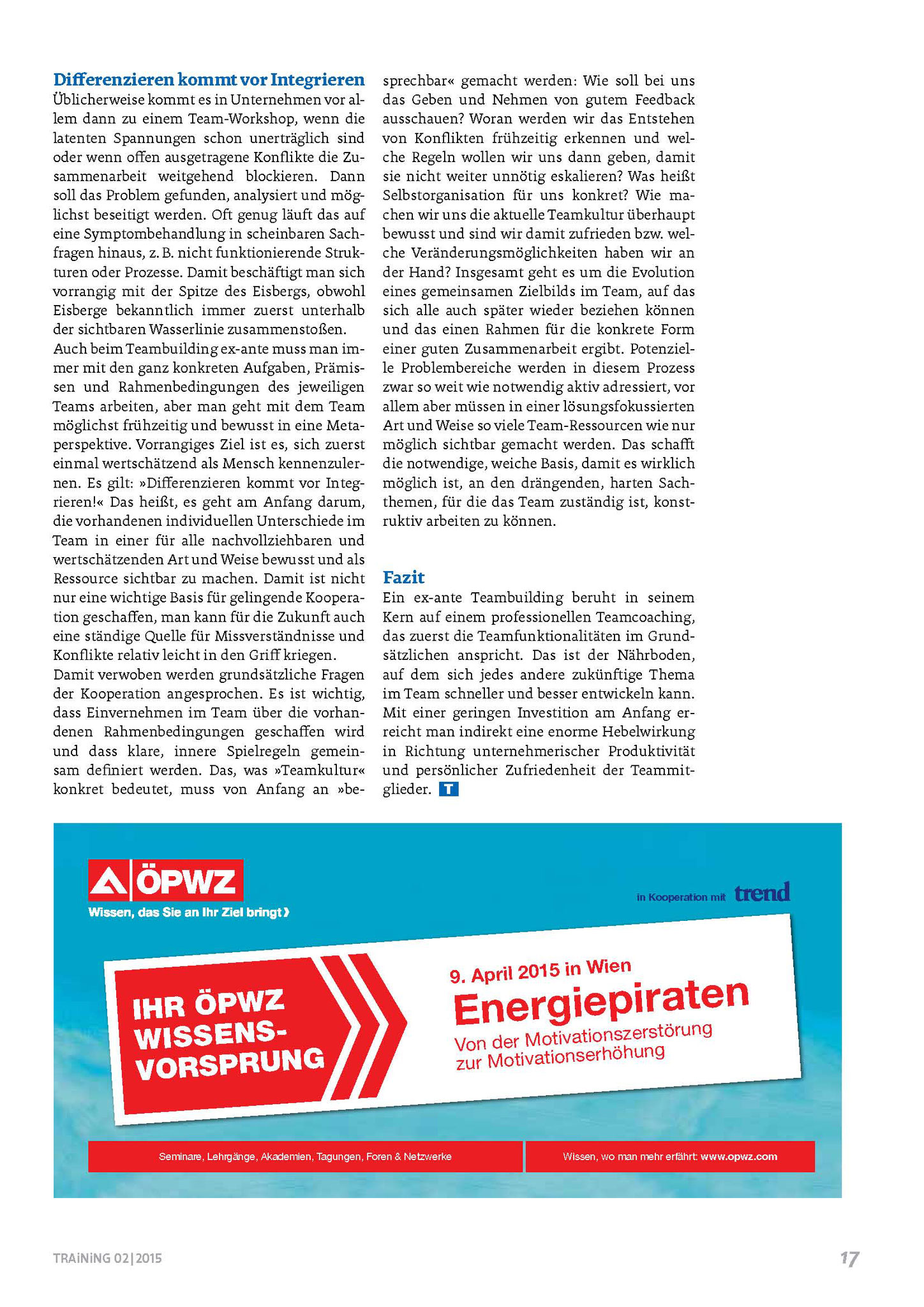 Artikel in TRAiNiNG 02/2015_Seite 2