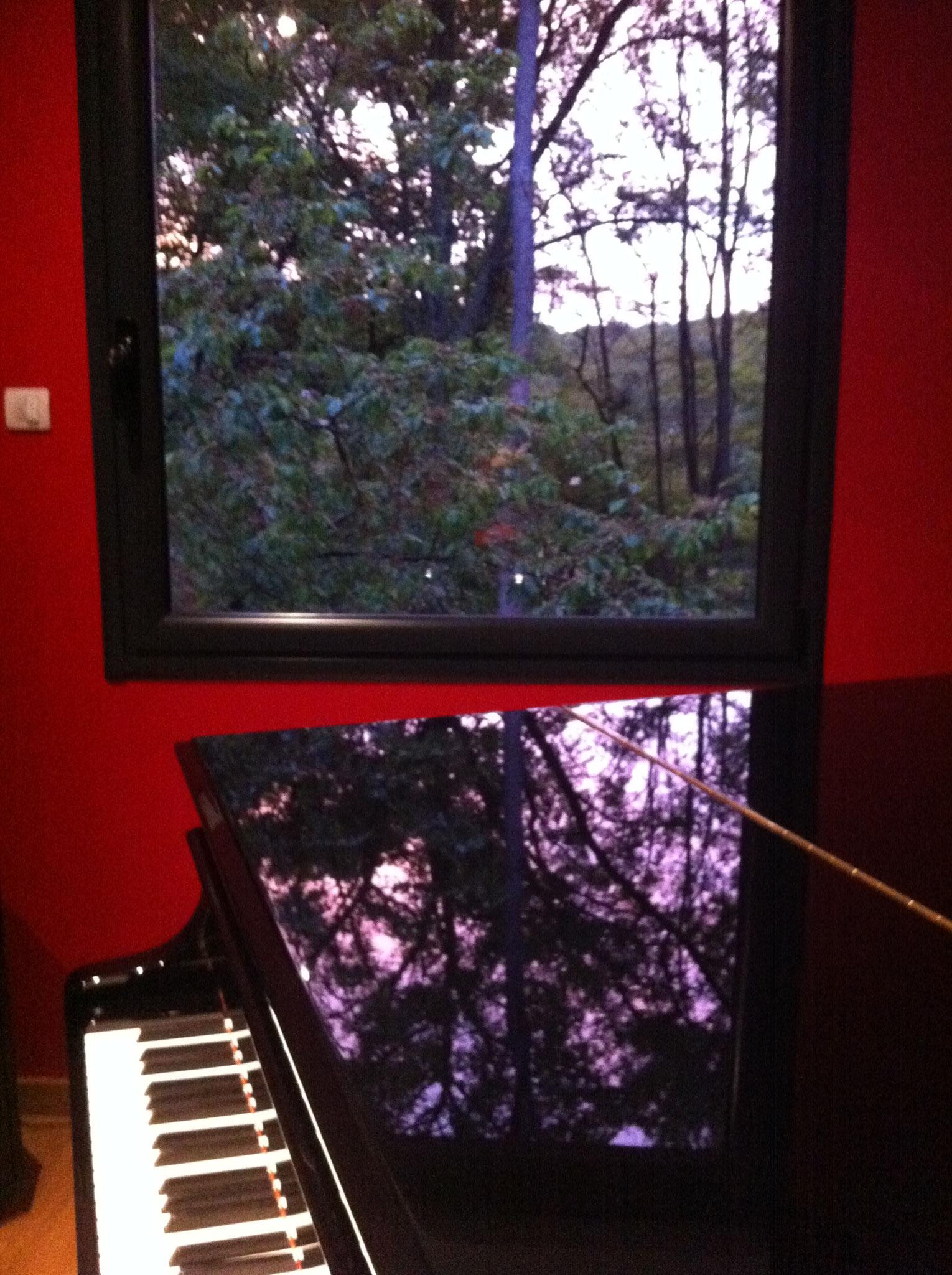 Reflets roses du crépuscule sur le piano