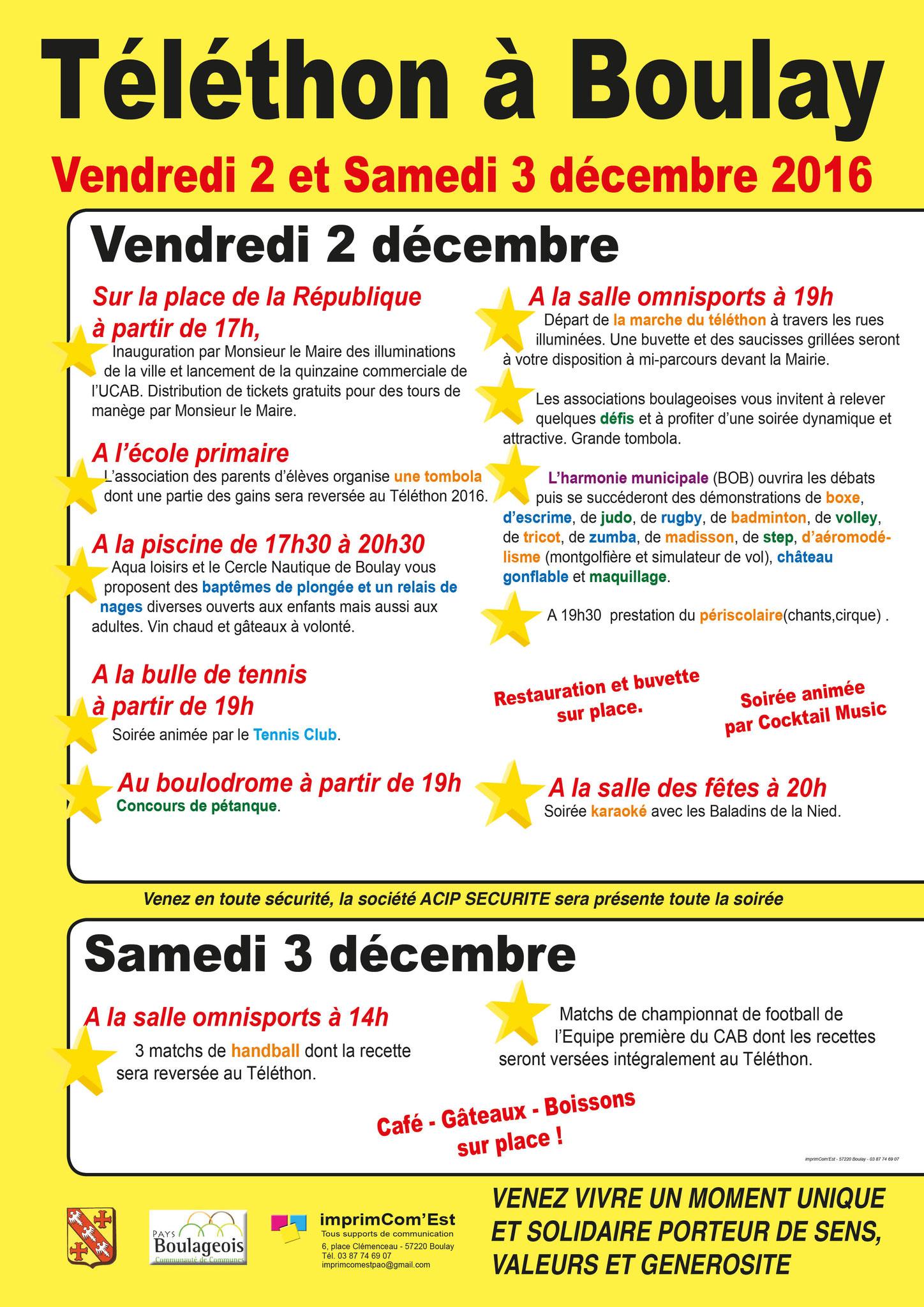 Retrouvez-nous le 2 décembre à Boulay-Moselle à l'occasion du Téléthon 2016