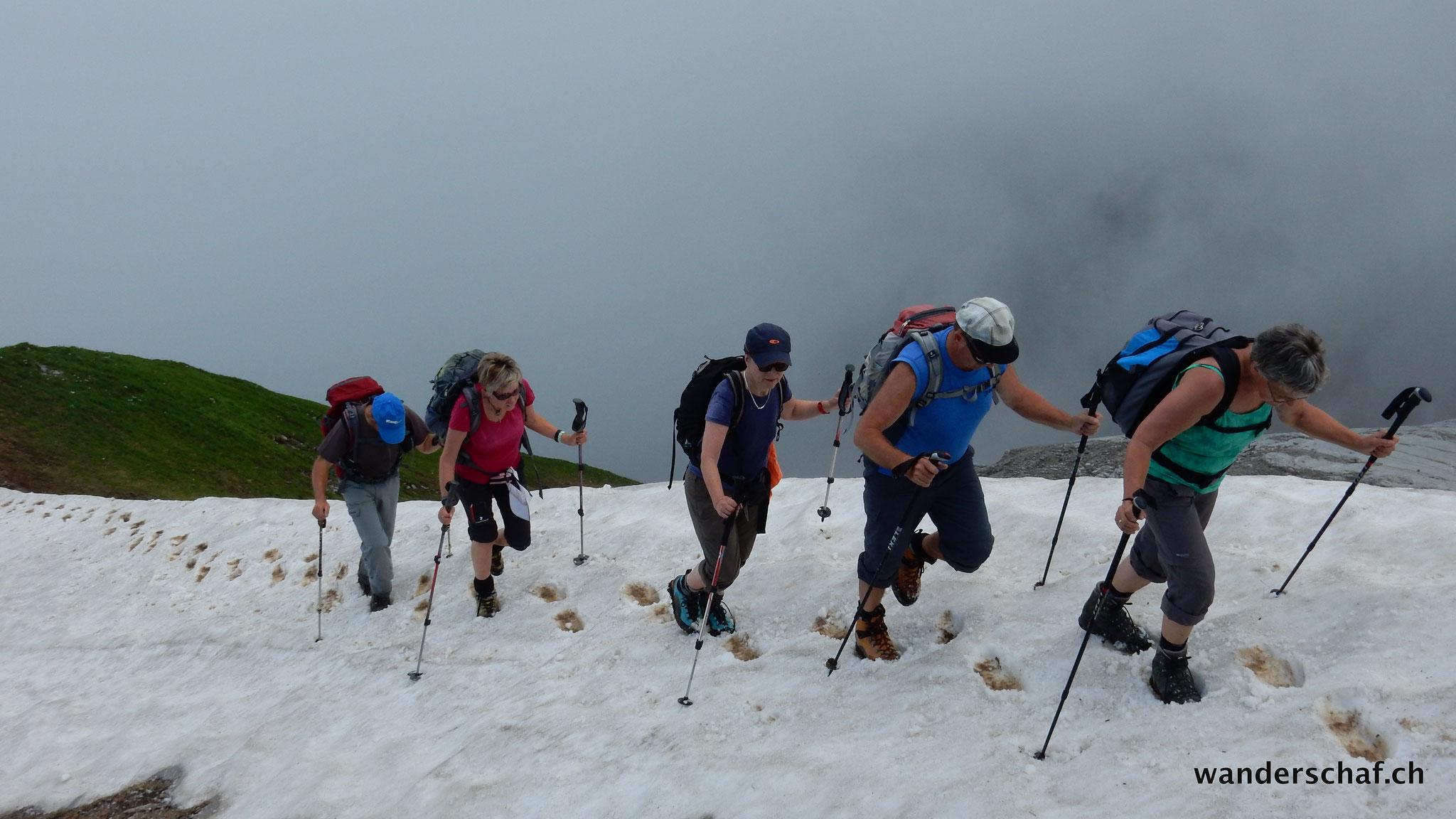 die Schneeeleiter hoch dem Gipfel entgegen