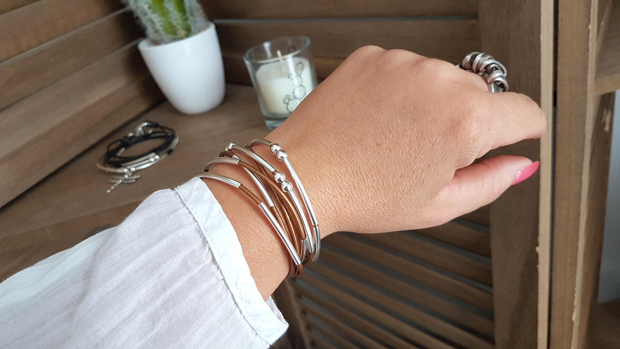 YOU bronze bracelet cuir femme