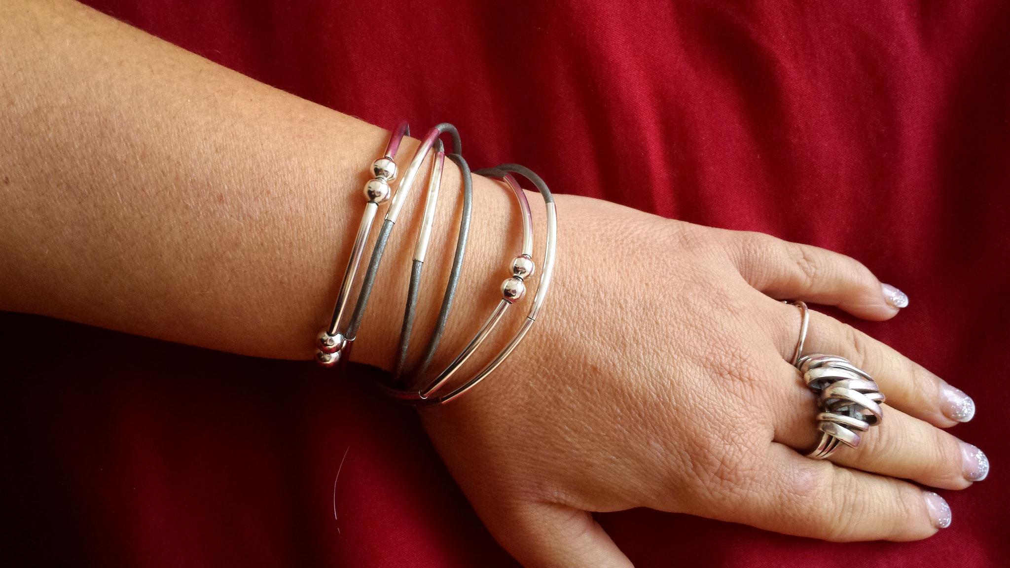 Bracelet YOU personnamisable et transformable cuir gris métallisé