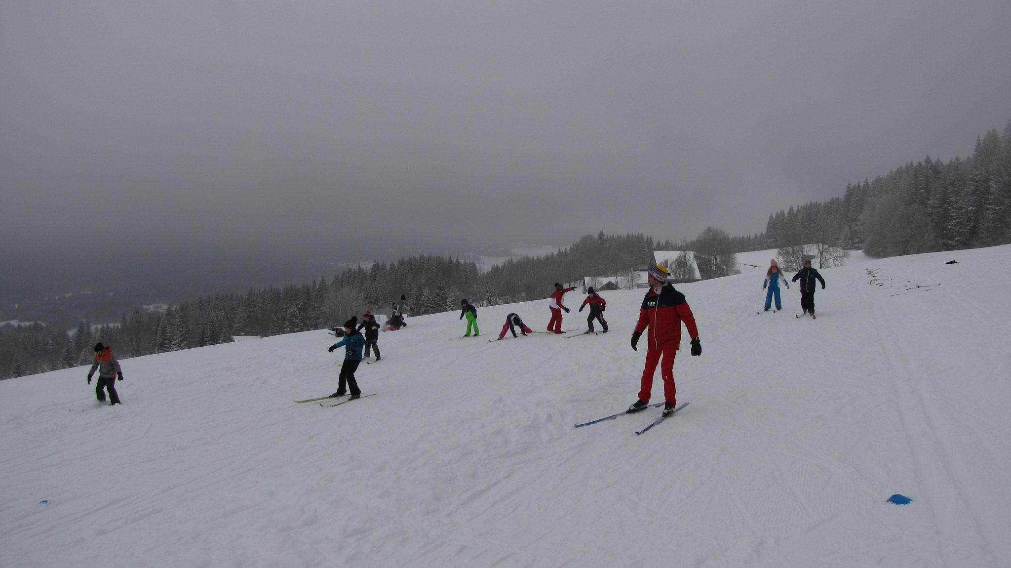 deuxième séance de ski de fond avec Armand