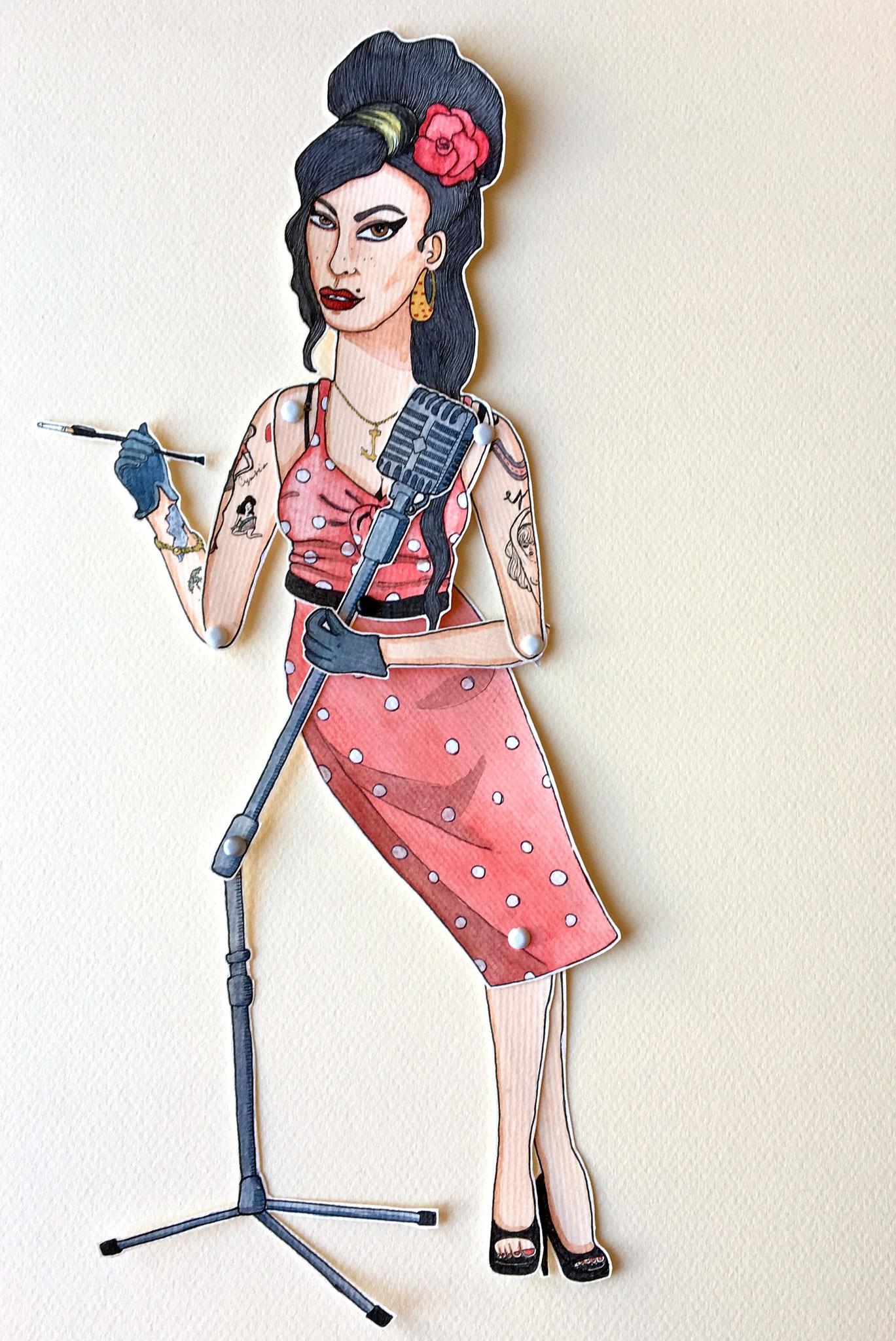 'Amy'Marionnette sur papier - encre de chine noire - aquarelle - pastels -