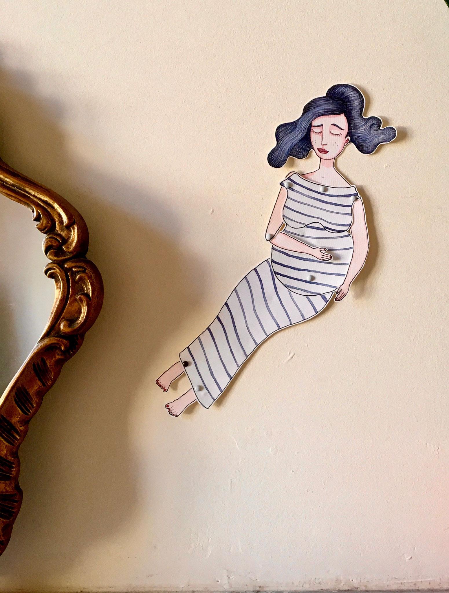 'Attesa 1'Marionnette sur papier - encre de chine noire - aquarelle - pastels -