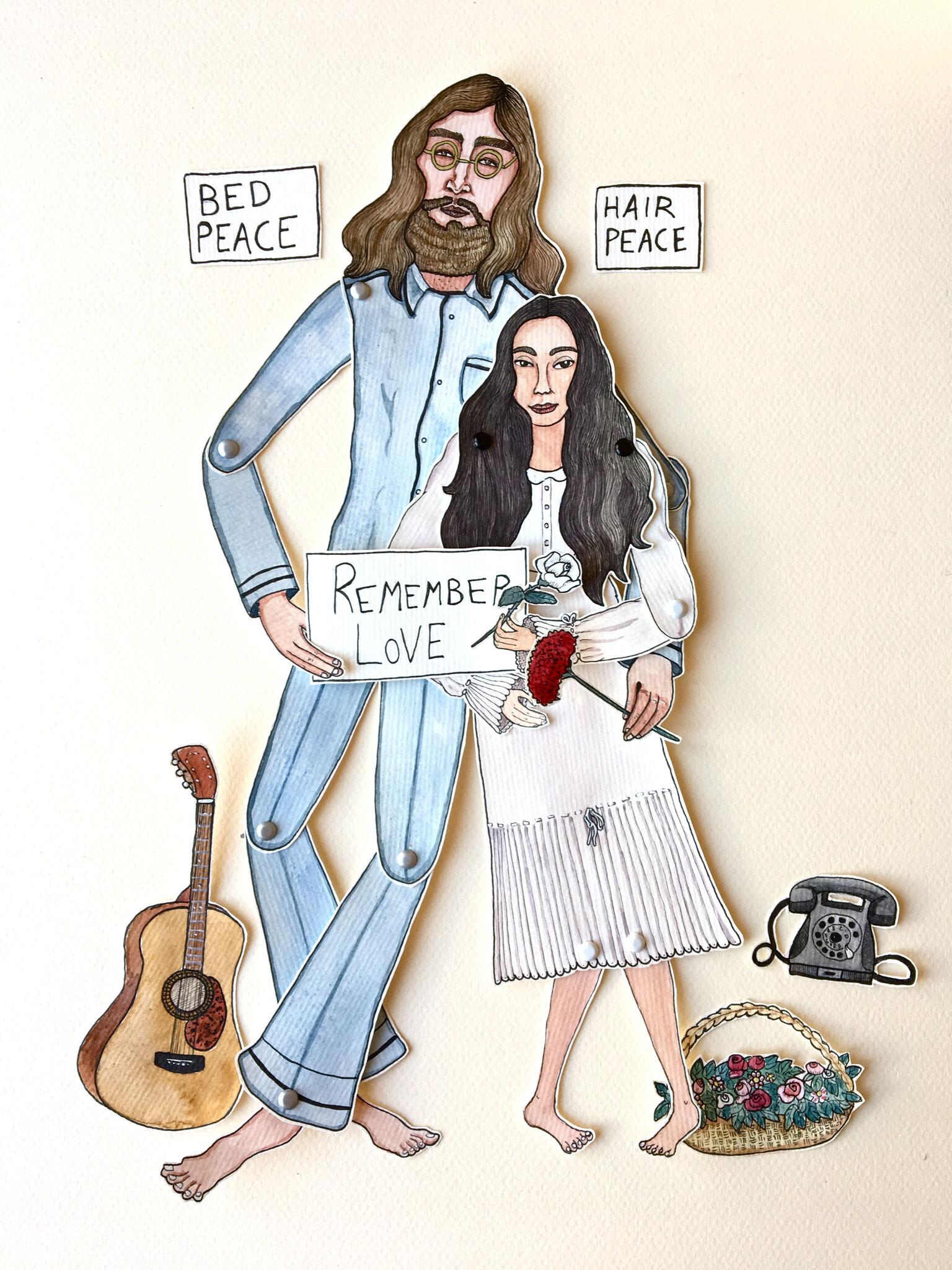 'John & Yoko'Marionnette sur papier - encre de chine noire - aquarelle - pastels -