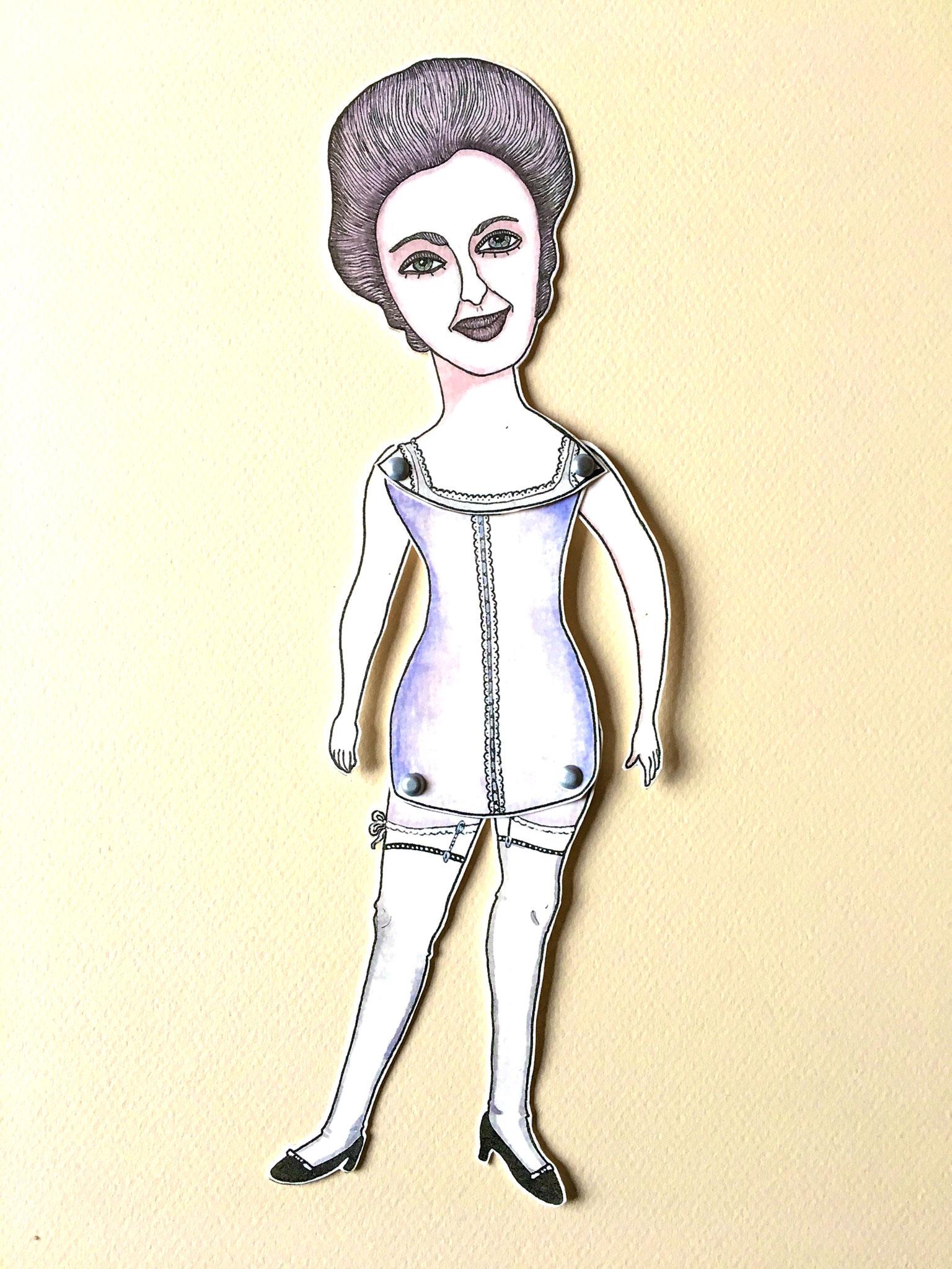 'Série Boudoir2'Marionnette sur papier - encre de chine noire - aquarelle - pastels -