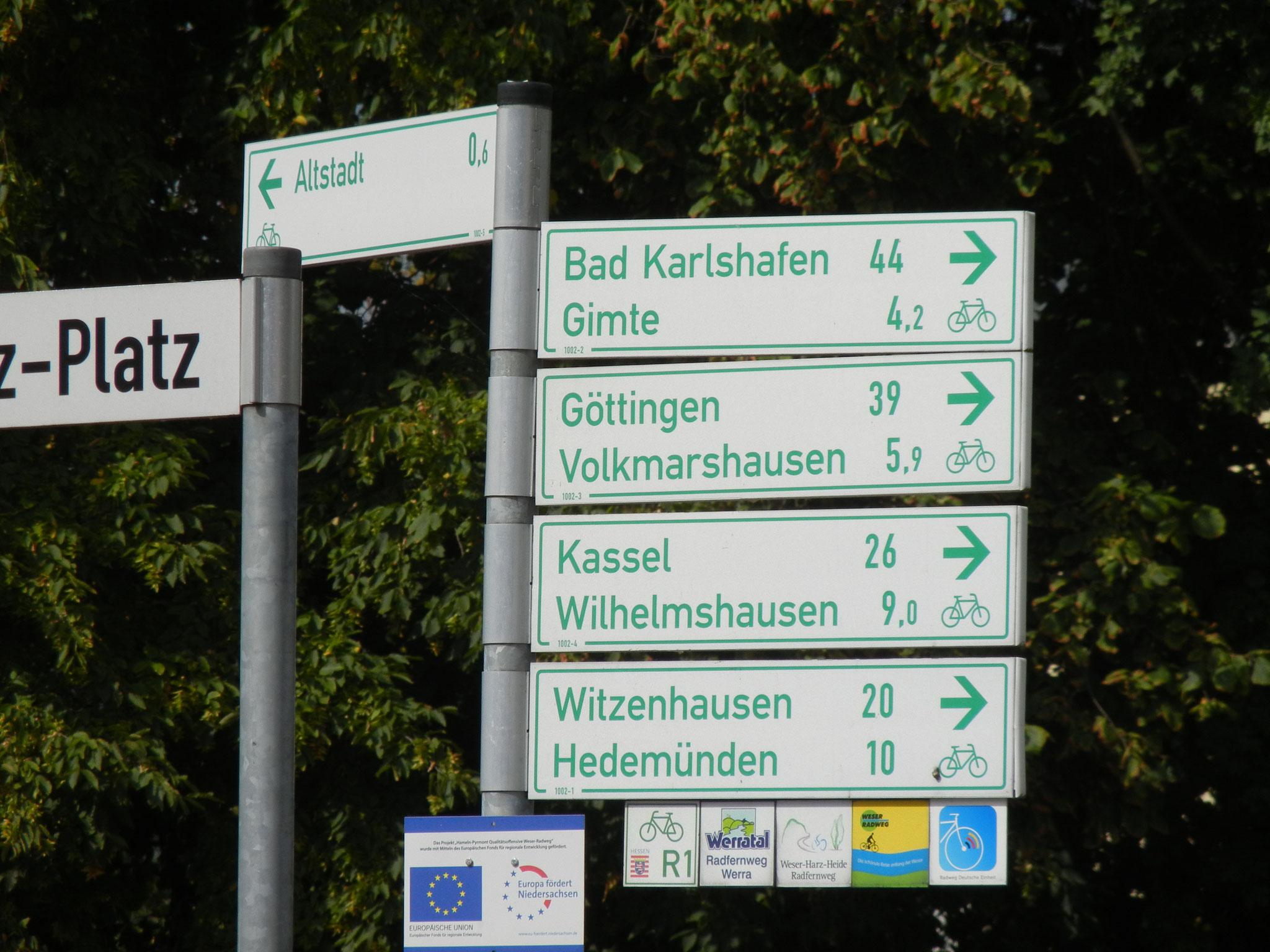 Hann. Münden ist Knotenpunkt einiger überregionaler Radwege.