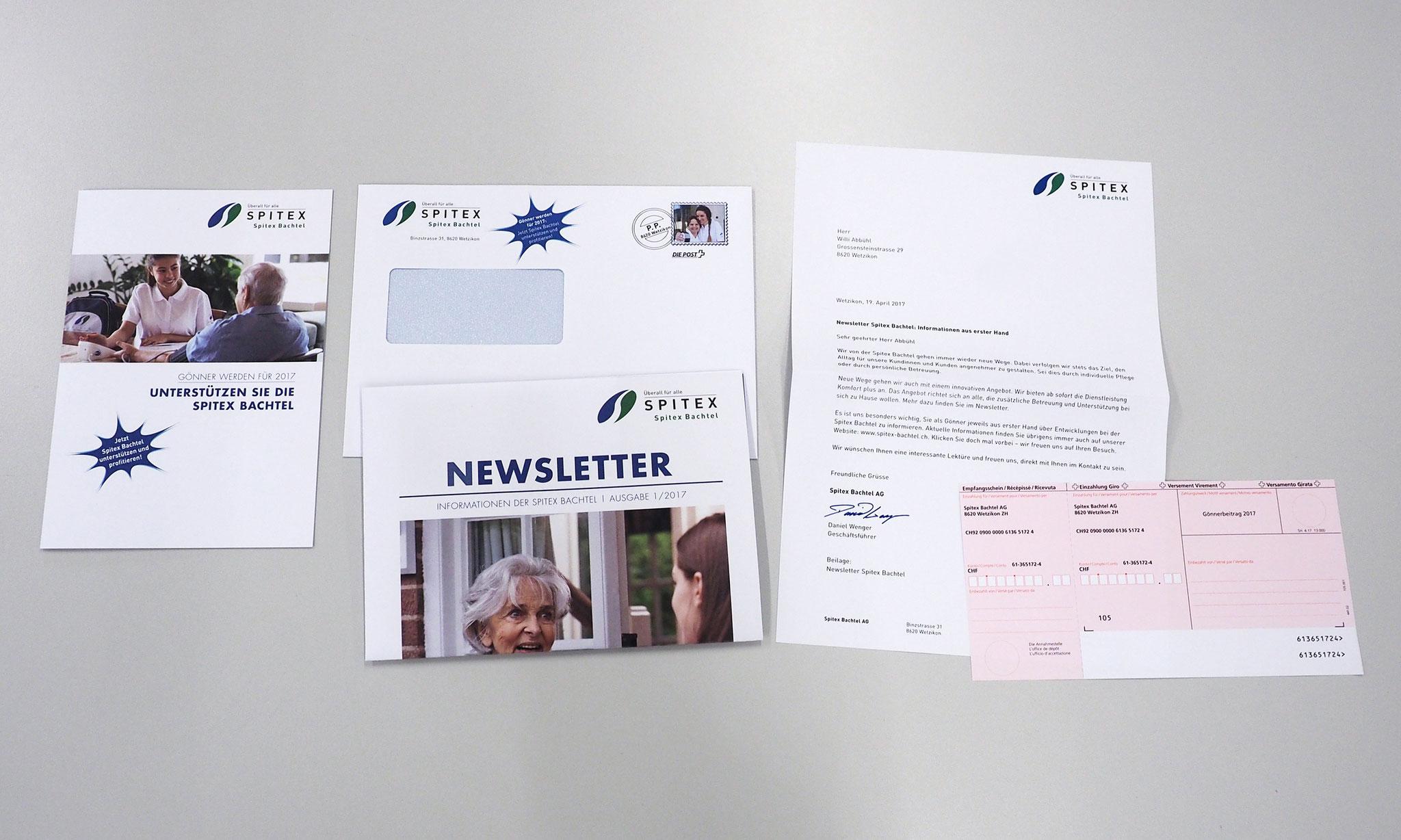 Mailings mit diversen Beilagen, inkl. Verpacken und Postaufgabe