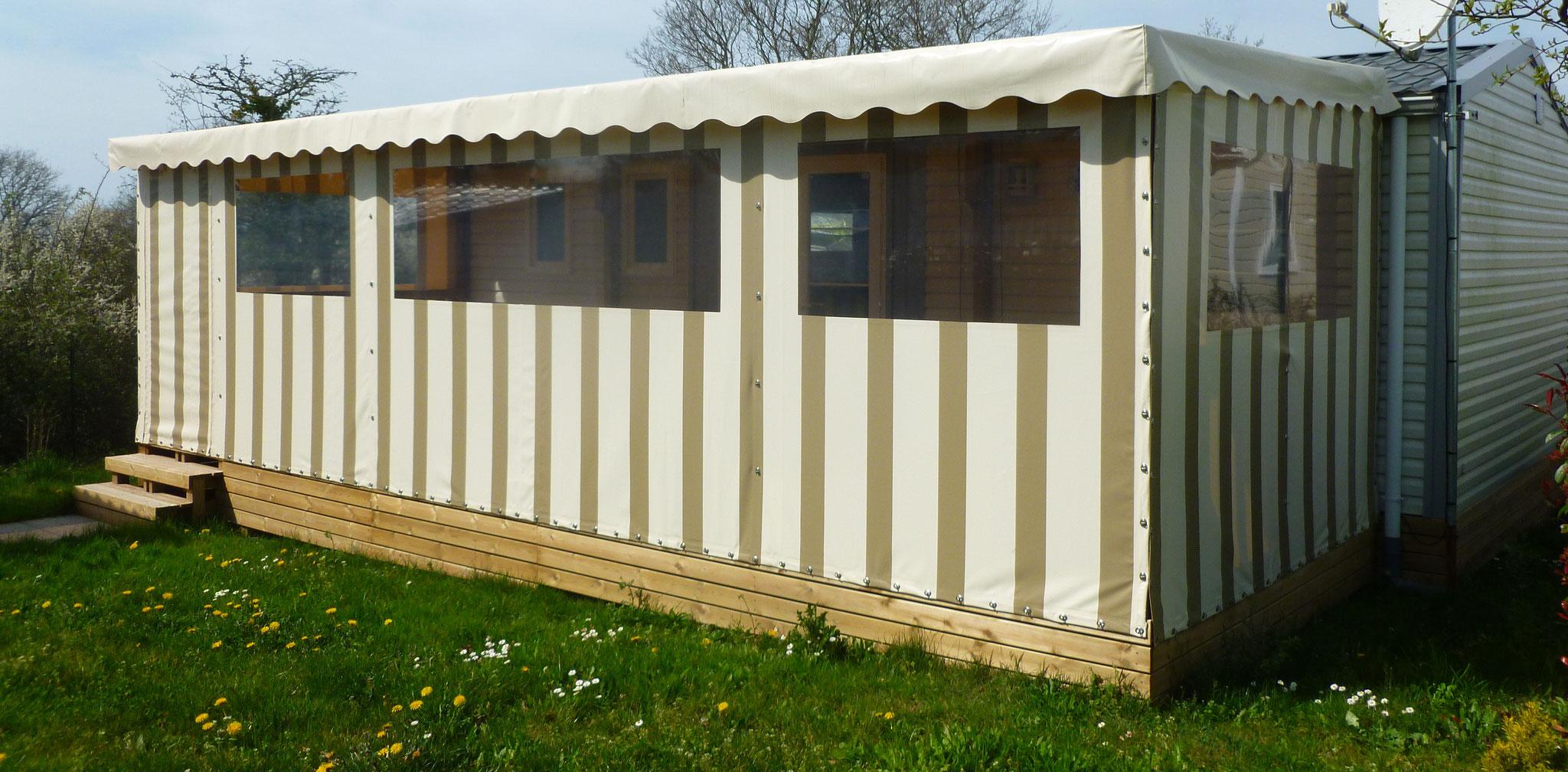 Terrasse mobil home couverte, baches sur mesure