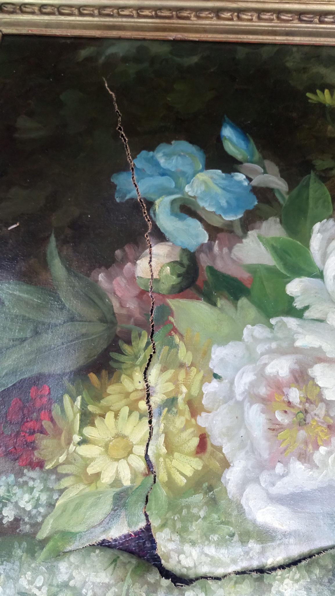 HST début 20è s : Bouquet de fleurs : Belle déchirure.....