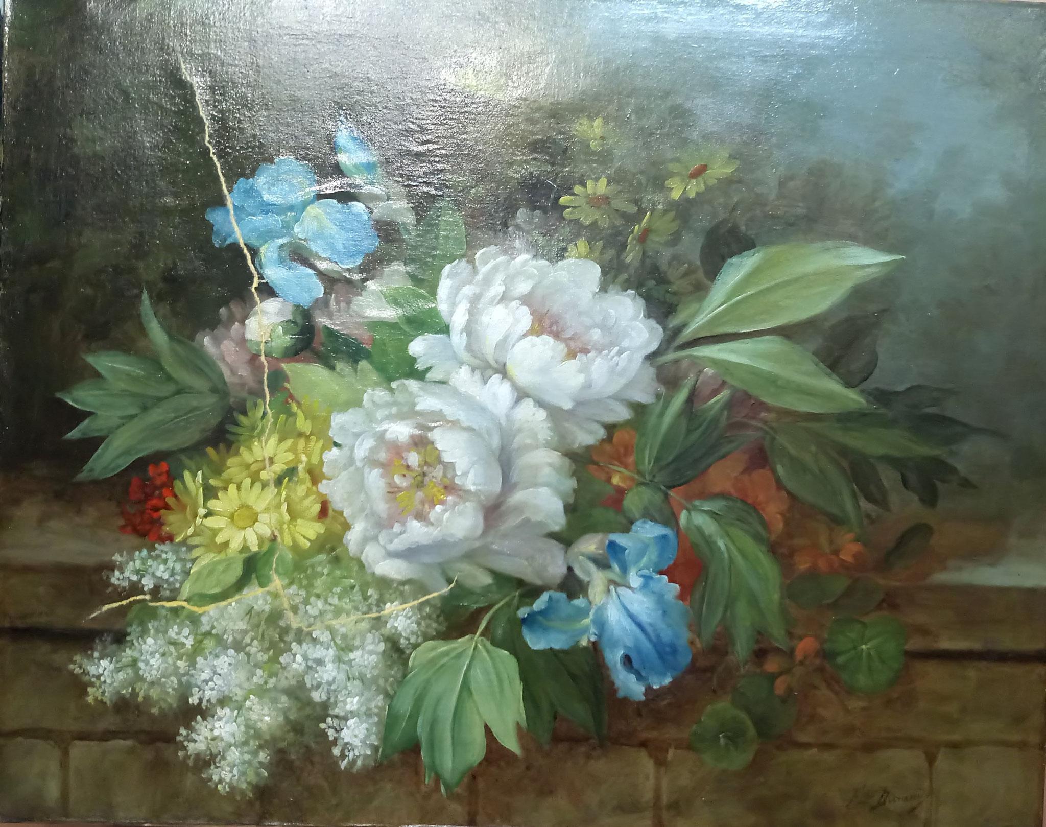 HST début 20è s : Bouquet de fleurs : masticages des lacunes après doublage du verso
