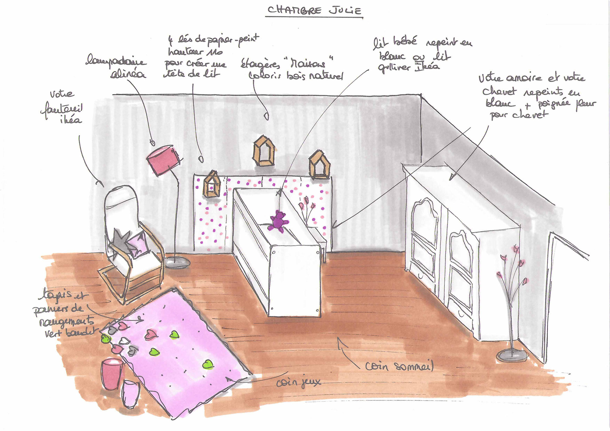 Atelier inside-chambre enfant gris et blanc, tapis rose, peinture unikalo