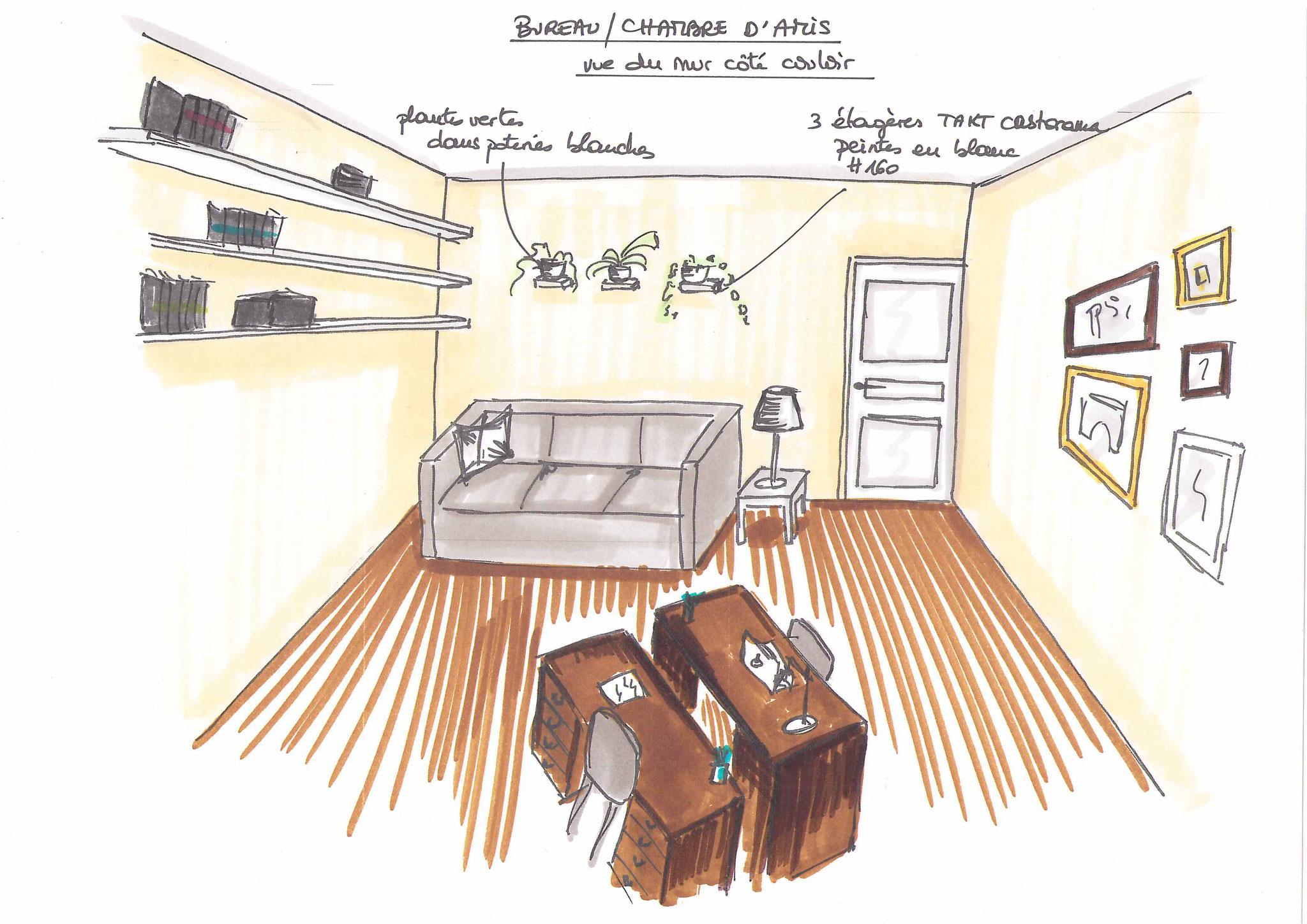 Atelier Inside - bureau, canapé Ikéa, patent decor, peinture unikalo