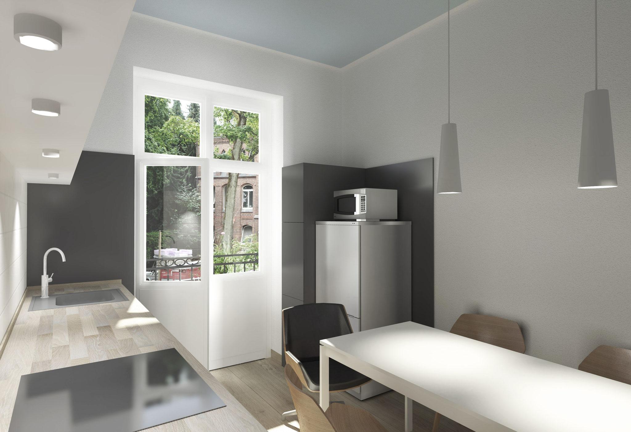 Entwurf eines Einbaumöbels in einer Wohnküche - nachher