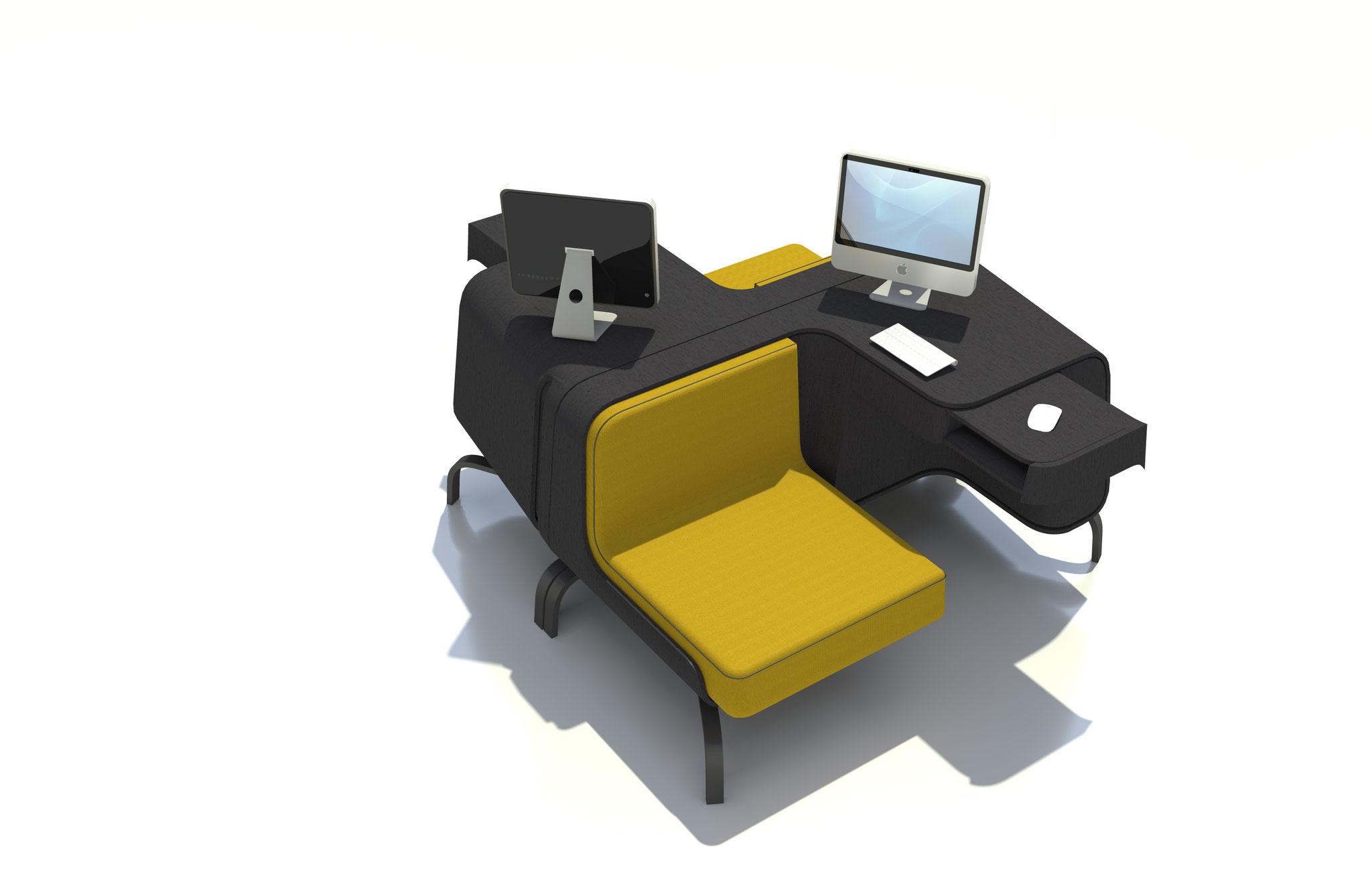 Designstudie eines Möbelstücks zum Arbeiten und Relaxen