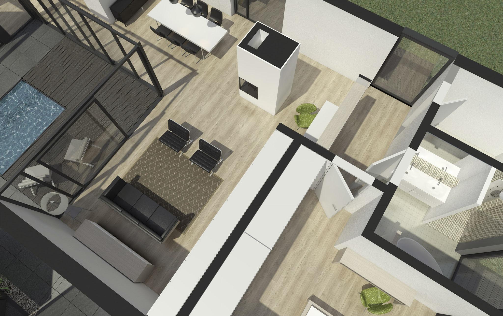 Grundrissplanung und Einrichtungsgestaltung eines Bungalowhauses in Berlin