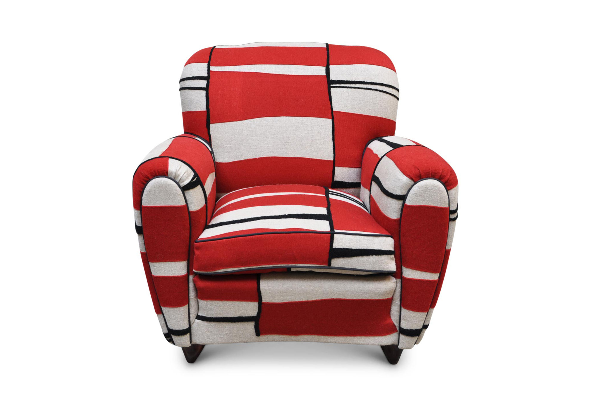 italian club chair 1940 in red jute