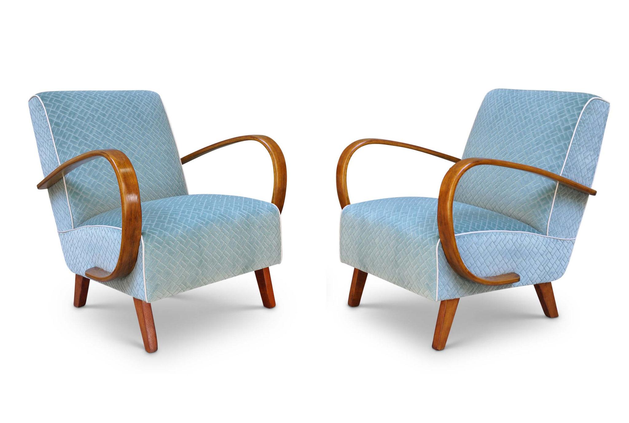 Poltrone Art Deco restaurate in velluto goffrato da Atelier Caruso Torino