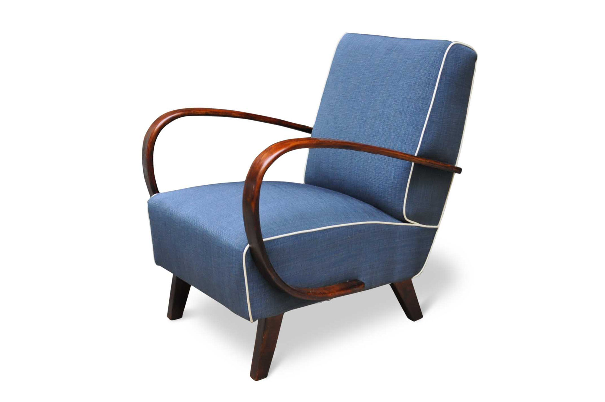 mid century chair in blue steel canettè fabric