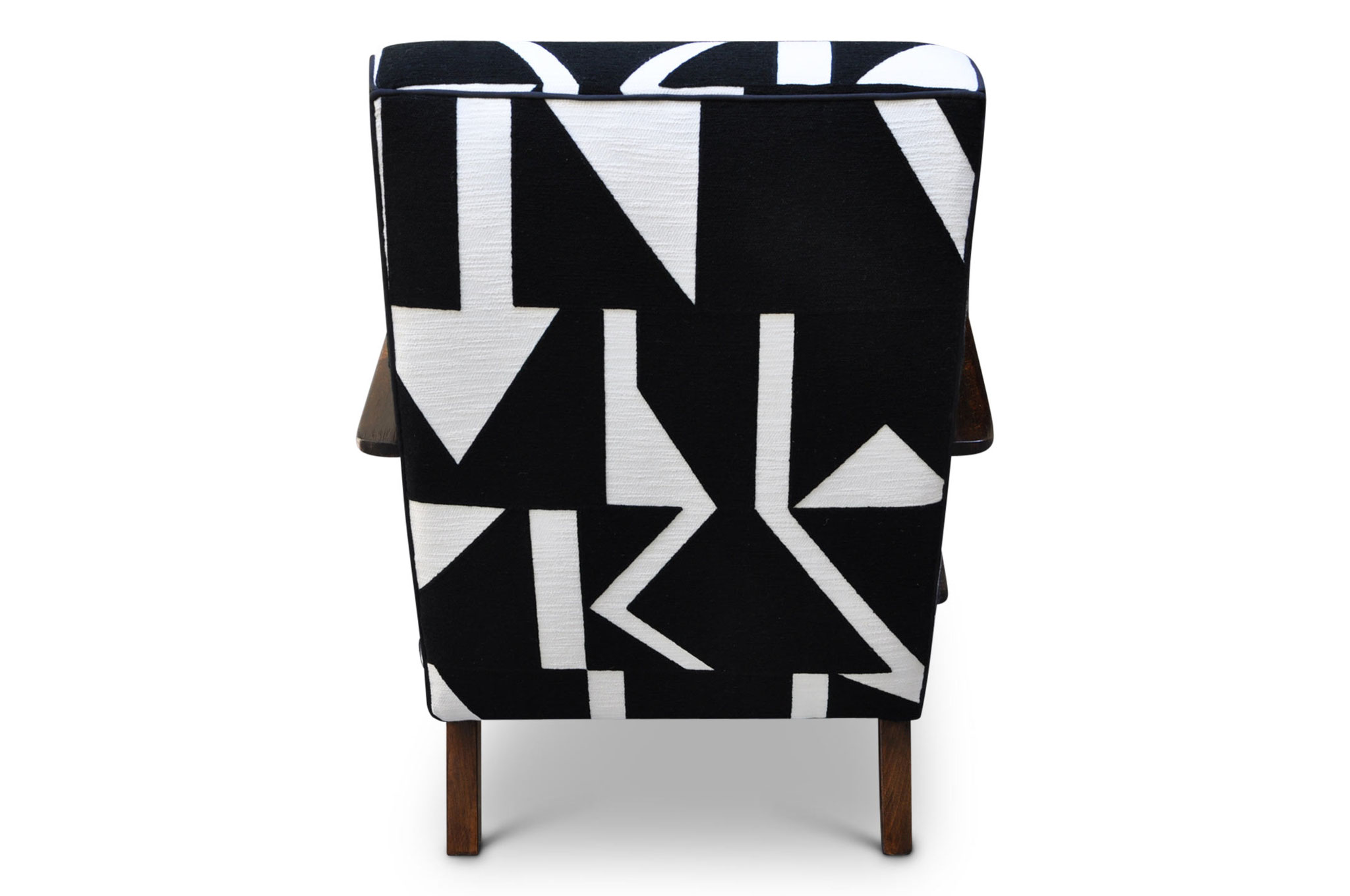 Art Deco chair in embroidered geometrical linen twill