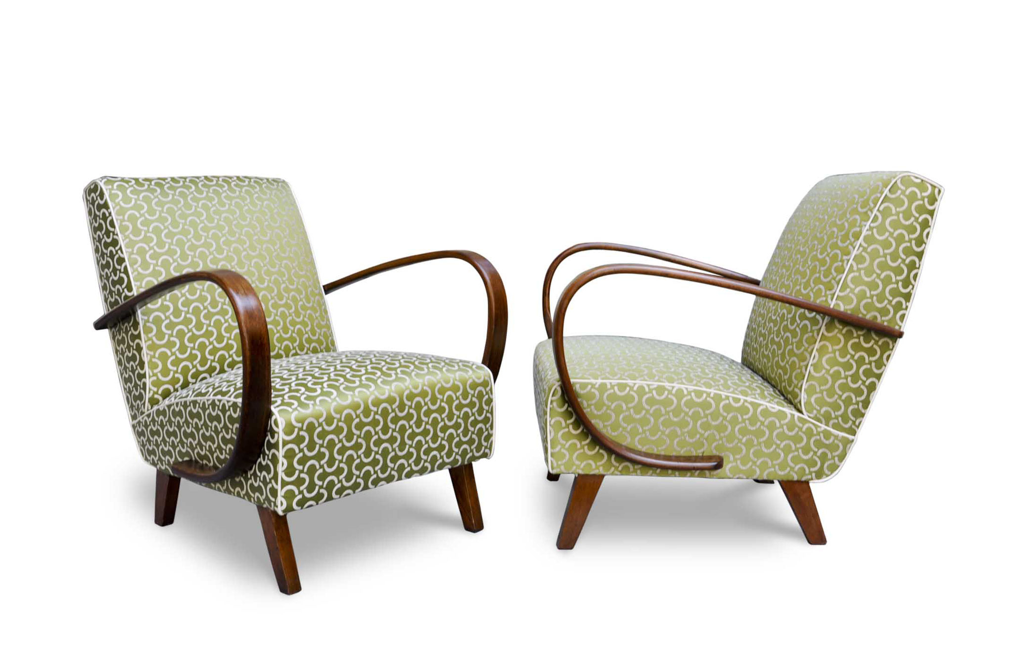 art deco chair in jacquard lime fabric