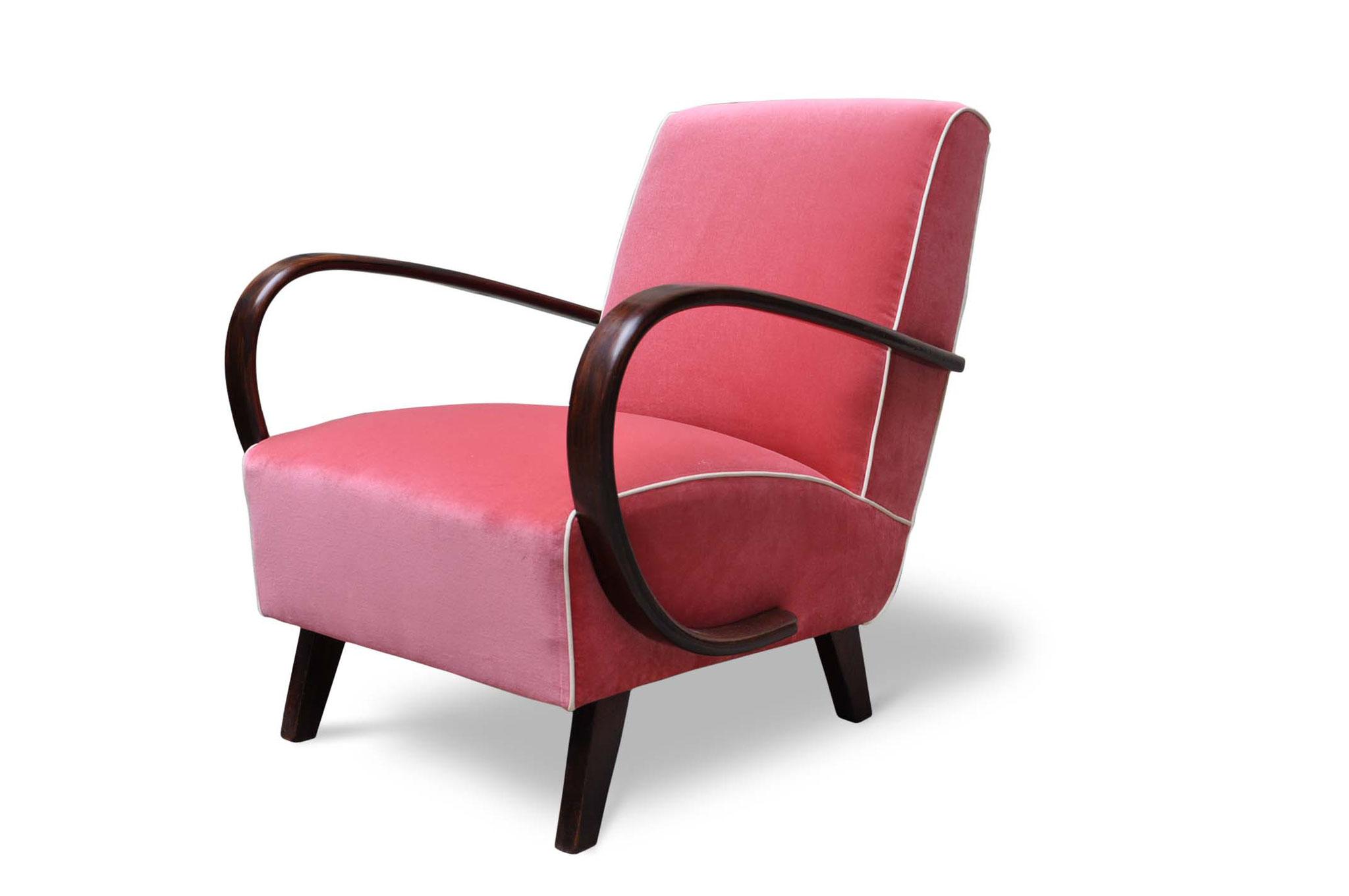 art deco chair in rose cotton velvet