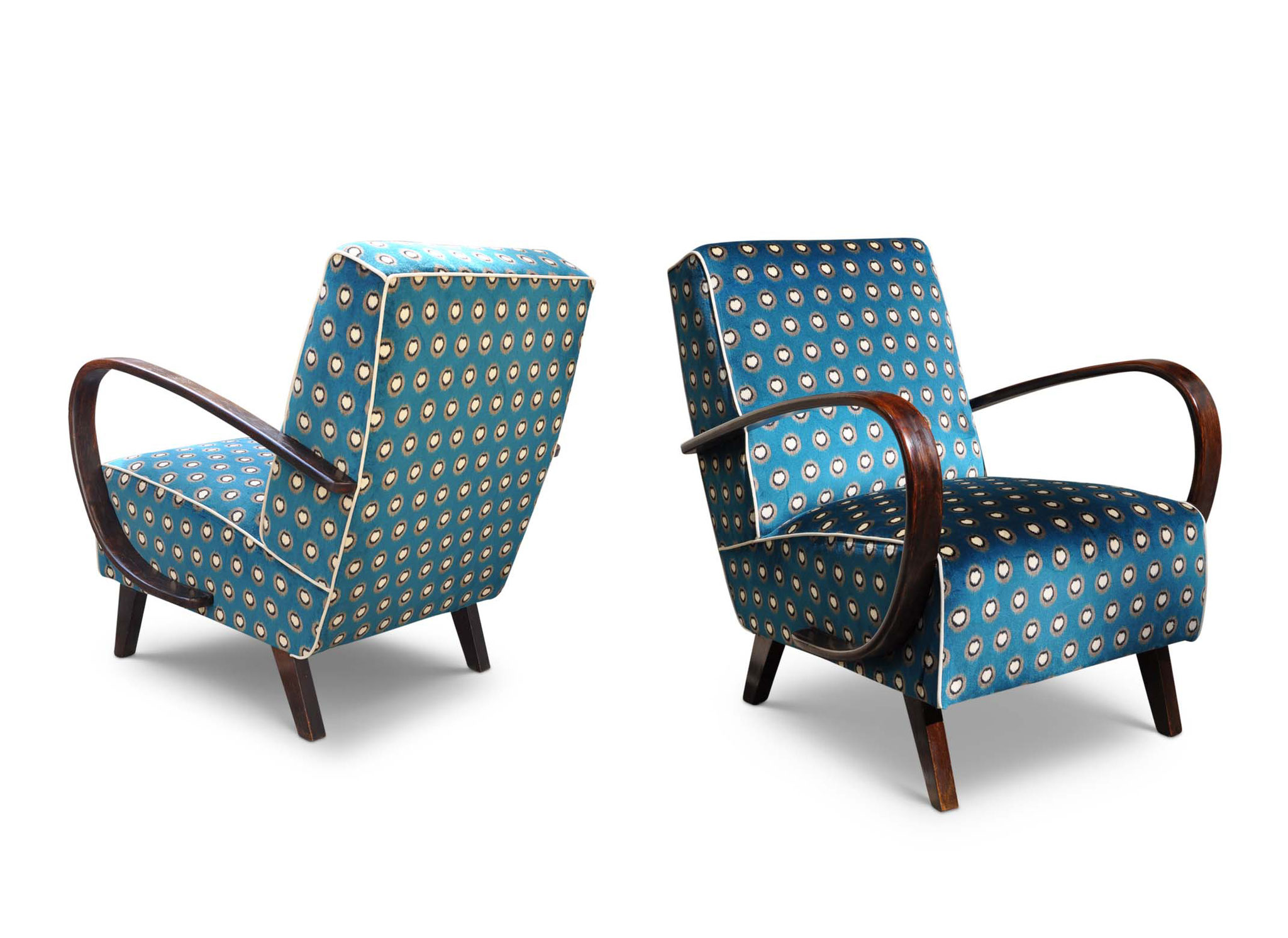 midcentury chair in ottanio ikat printed velvet
