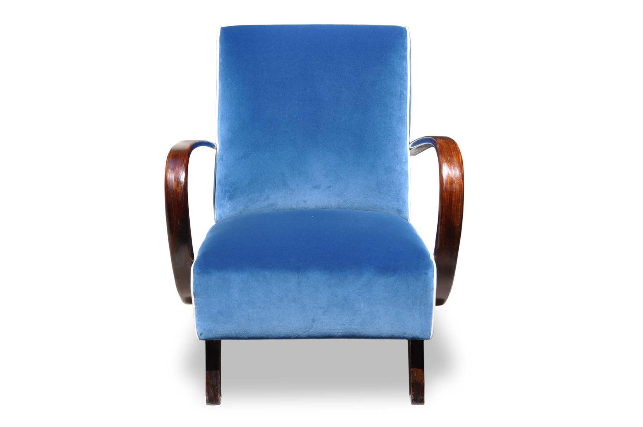 art deco chair in prussian blue velvet