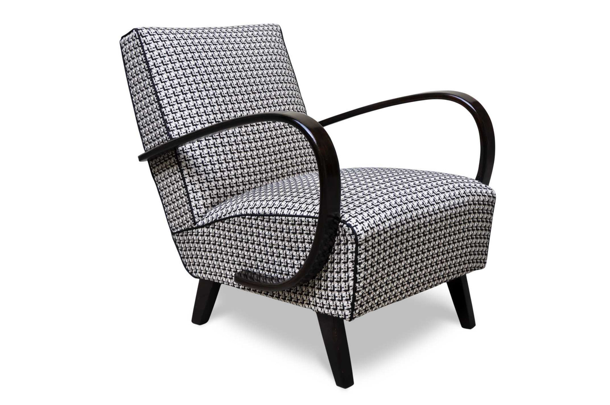 mid century chair in chanel fabric