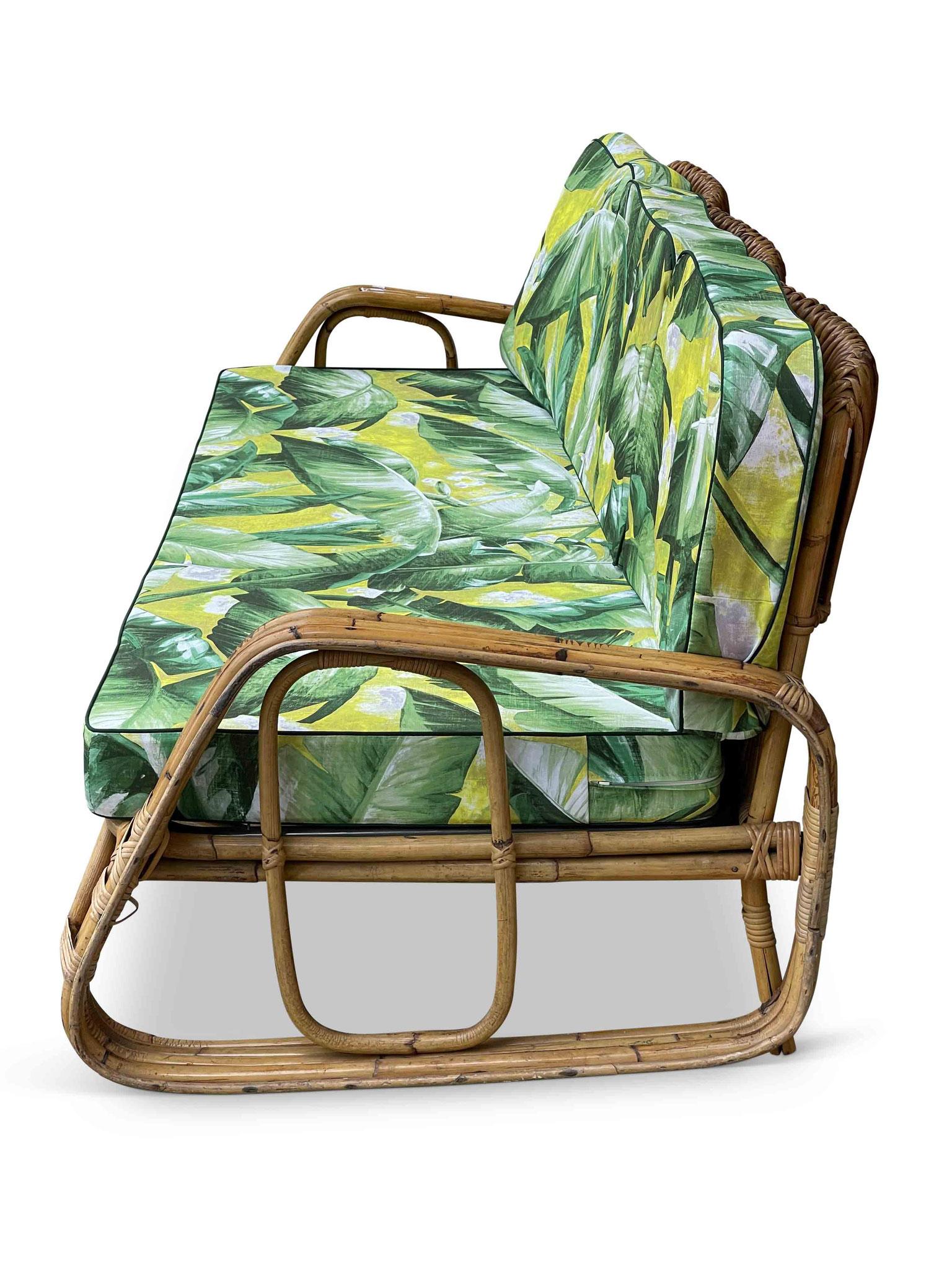 divano vintage rattan bamboo tito agnoli bonacina