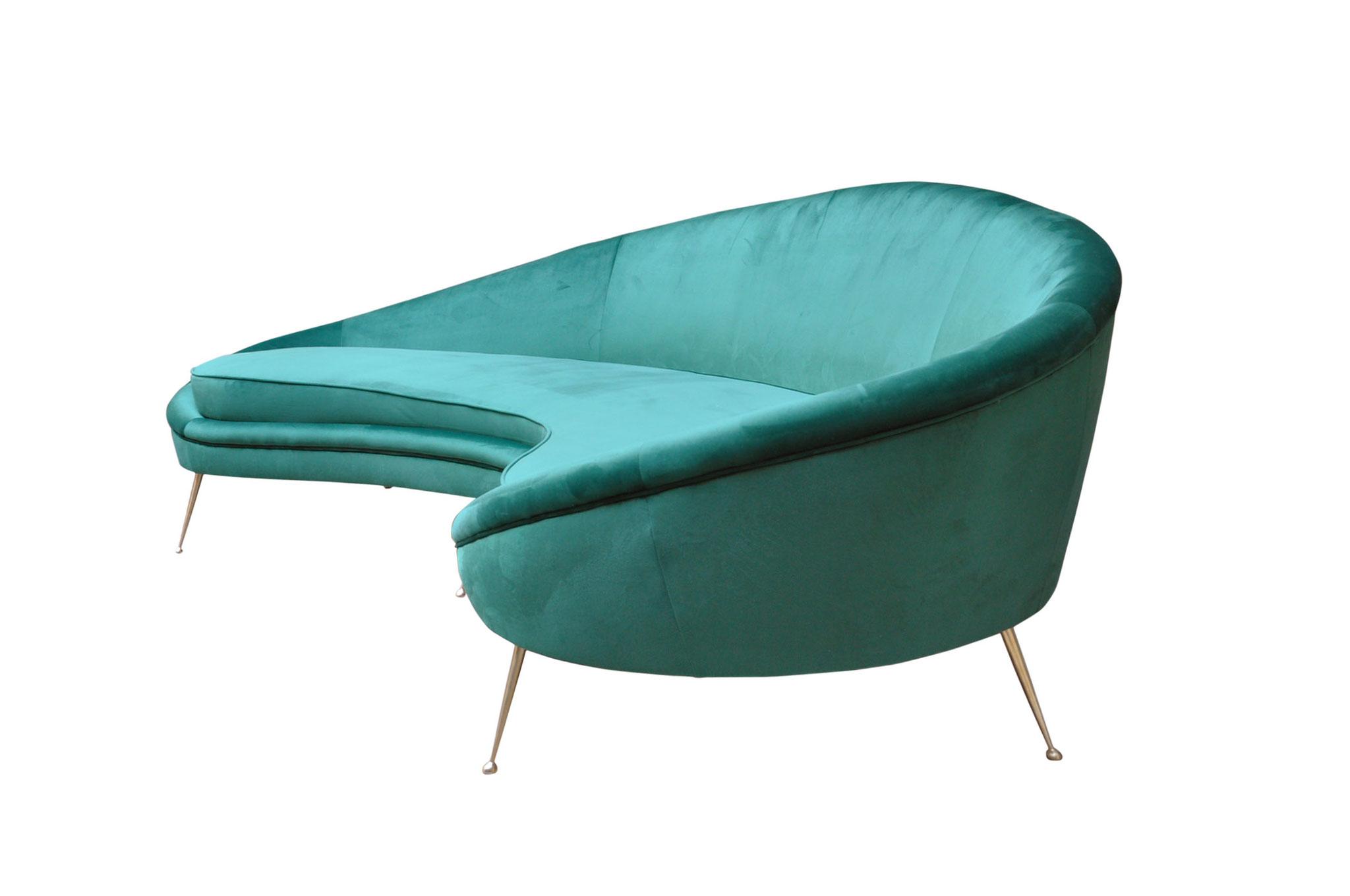 ico parisi comma sofa brass feet 1950s